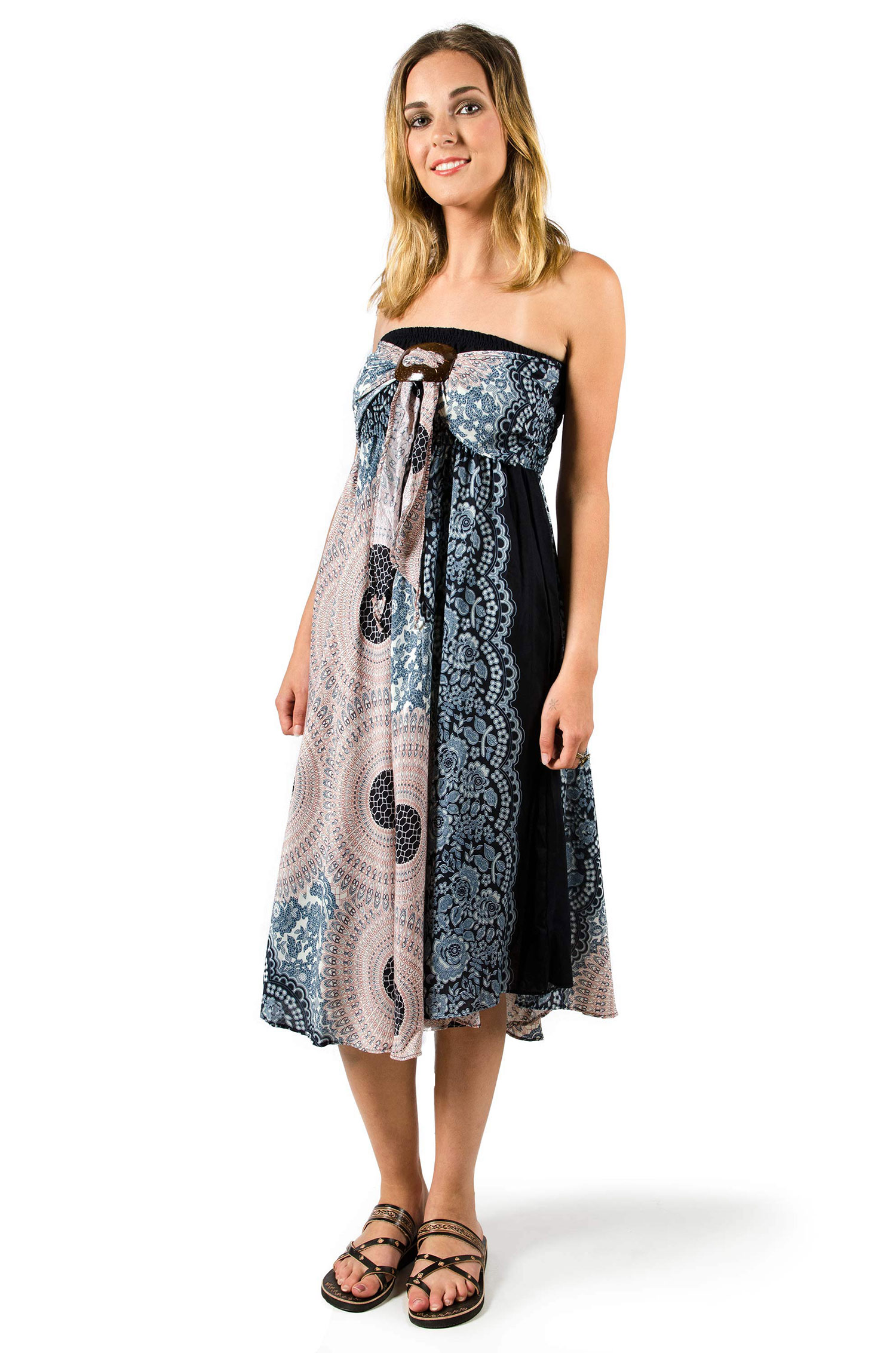 Convertible Dress / Skirt, Honeycomb print, Grey
