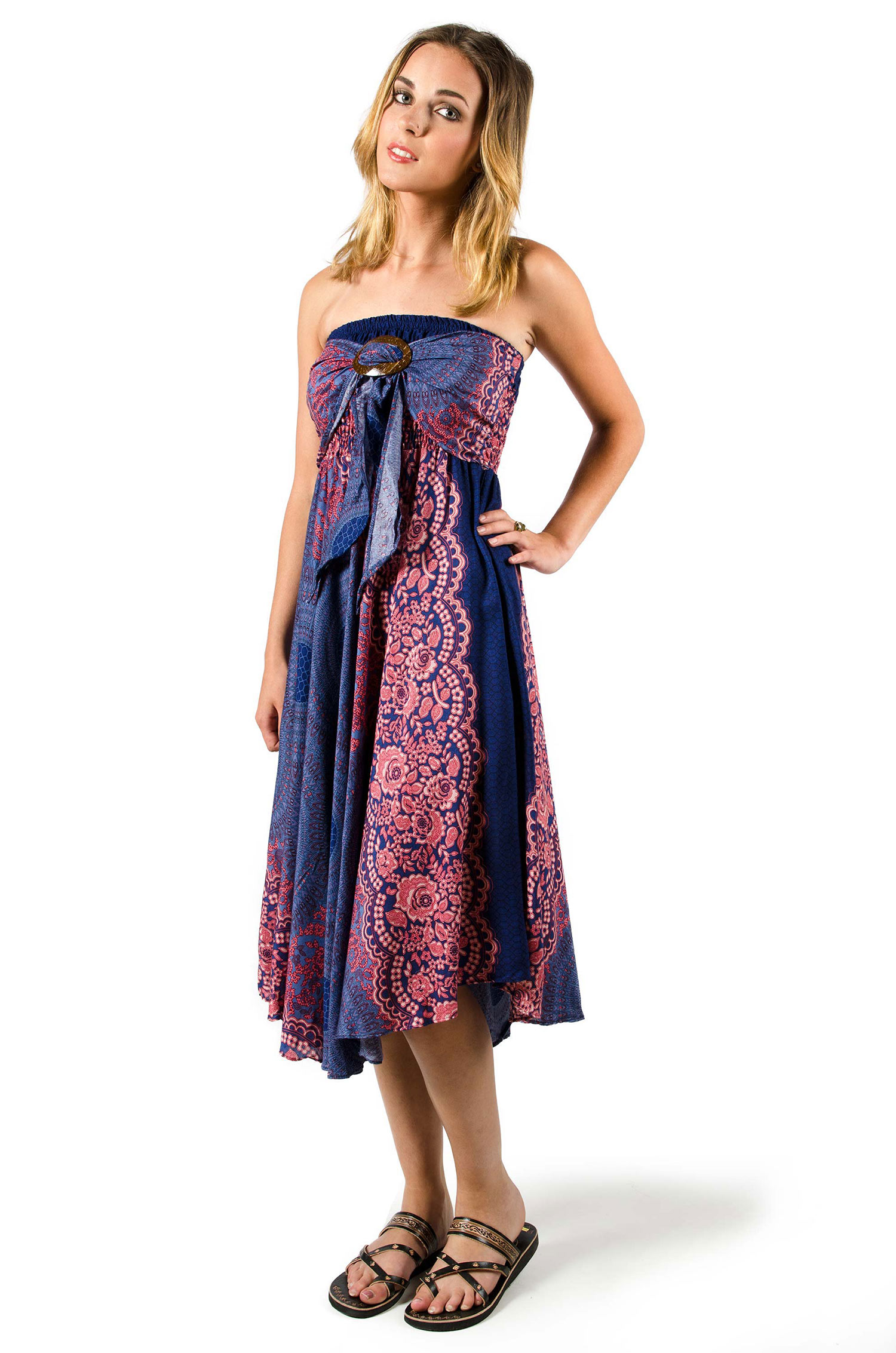 Peacock Print Rayon Dress / Skirt Blue