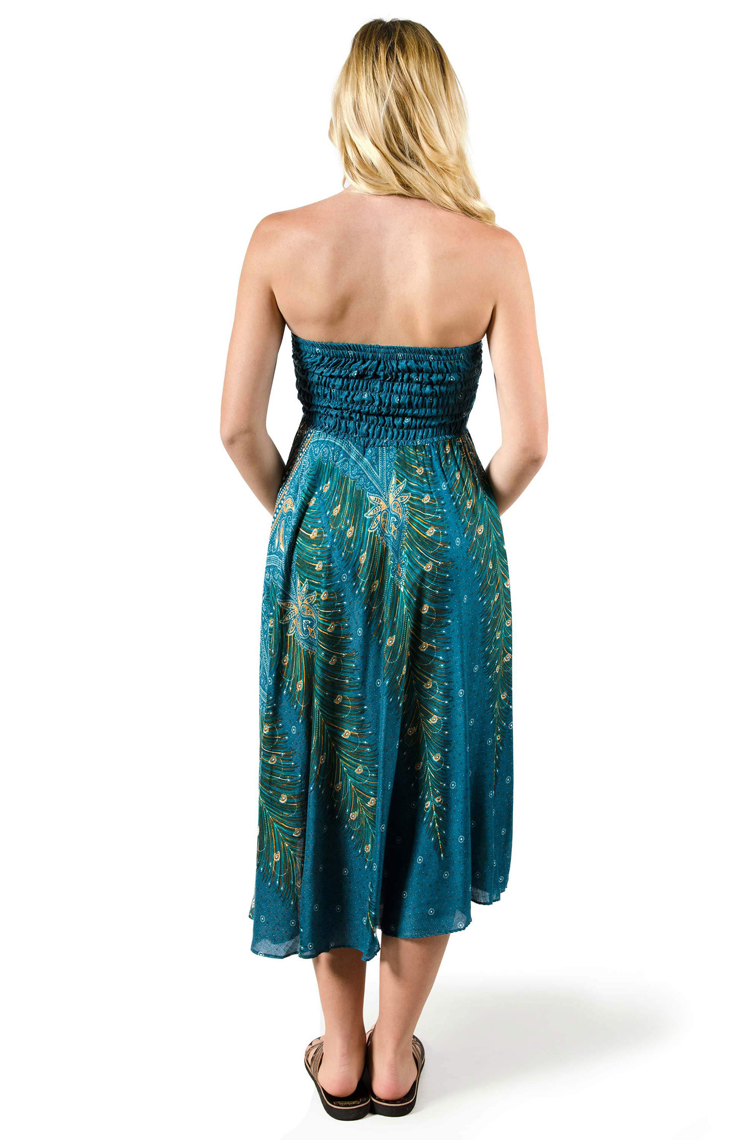 Convertible Print Dress / Skirt - Teal - 3543T