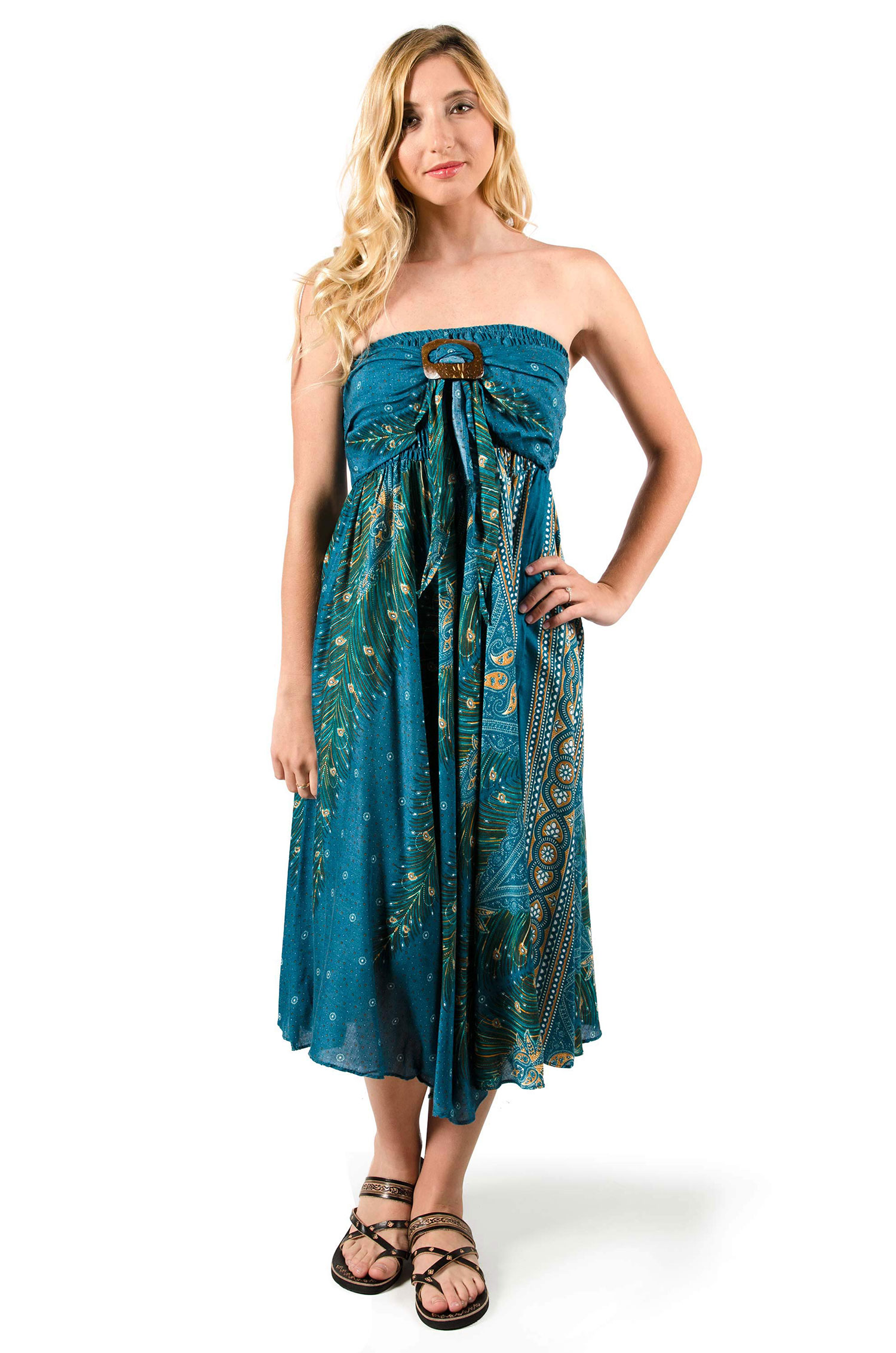 Peacock Print Rayon Dress / Skirt  Teal