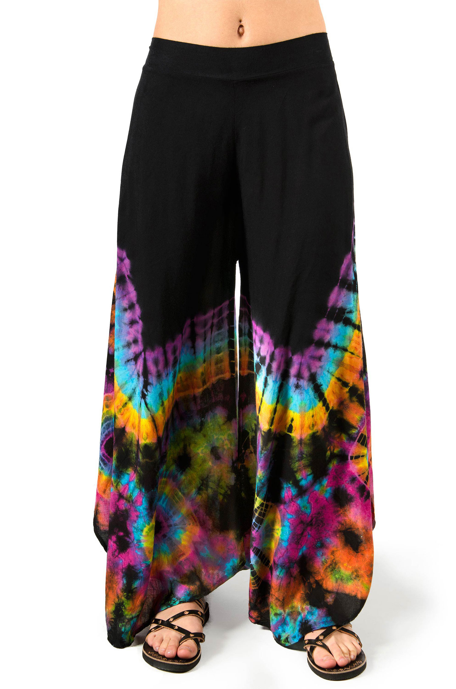 Hand Painted Tie Dye Wide Leg Pants Rainbow