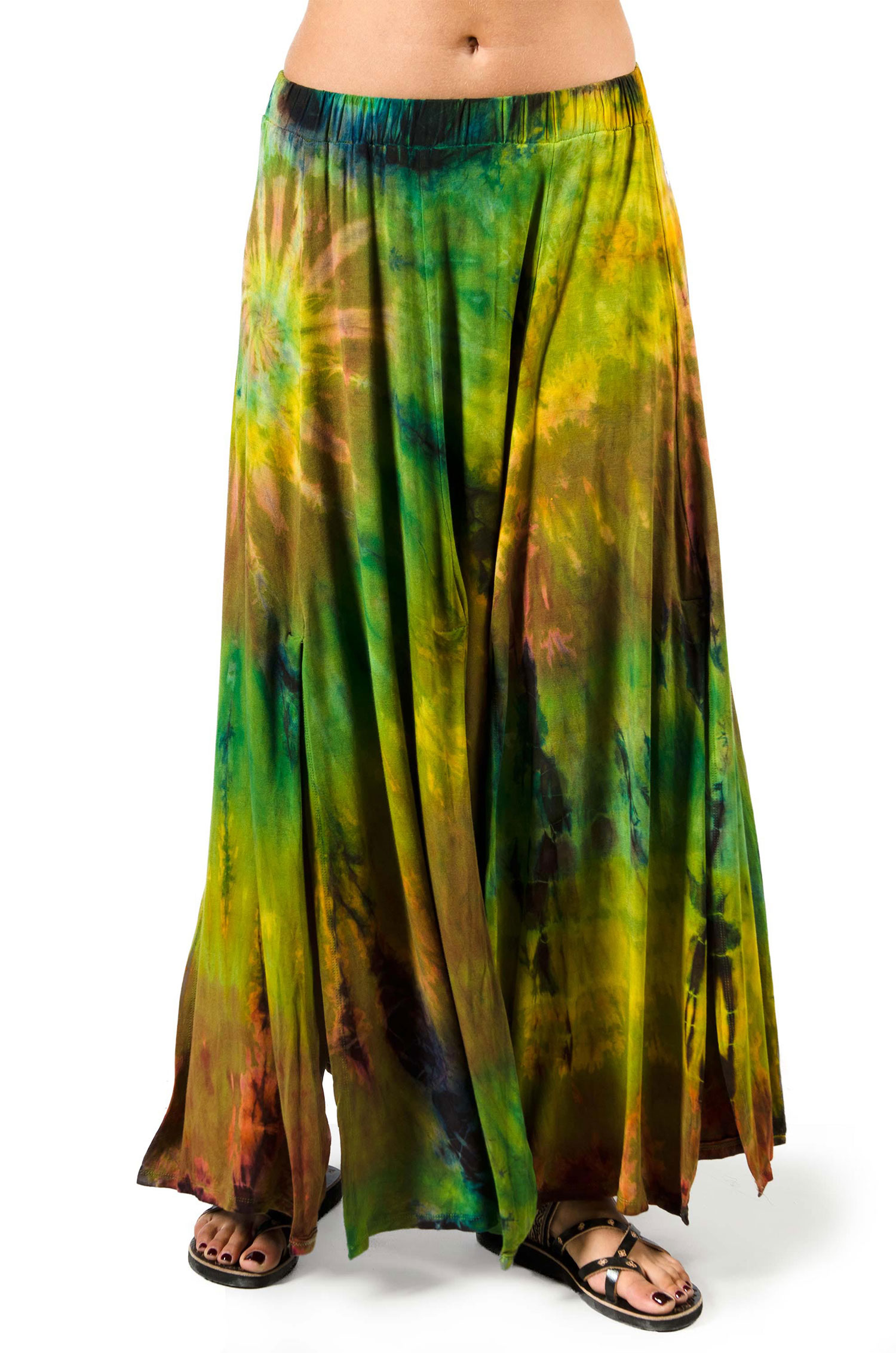 Hand Painted Tie Dye, Maxi Skirt, Olive Multi