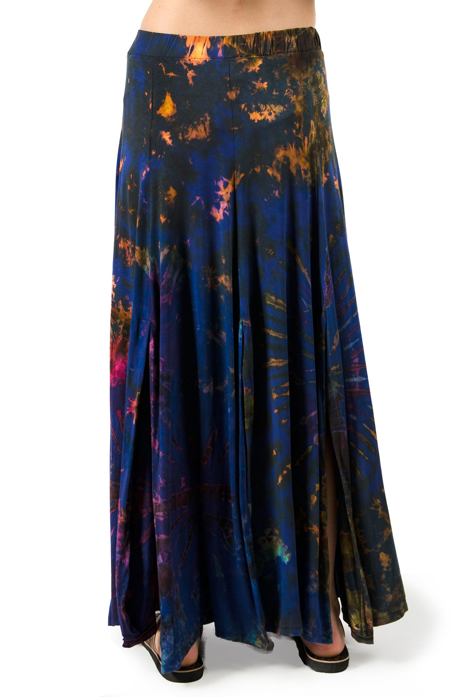 Hand Painted Tie Dye,Maxi Skirt, Blue Multi