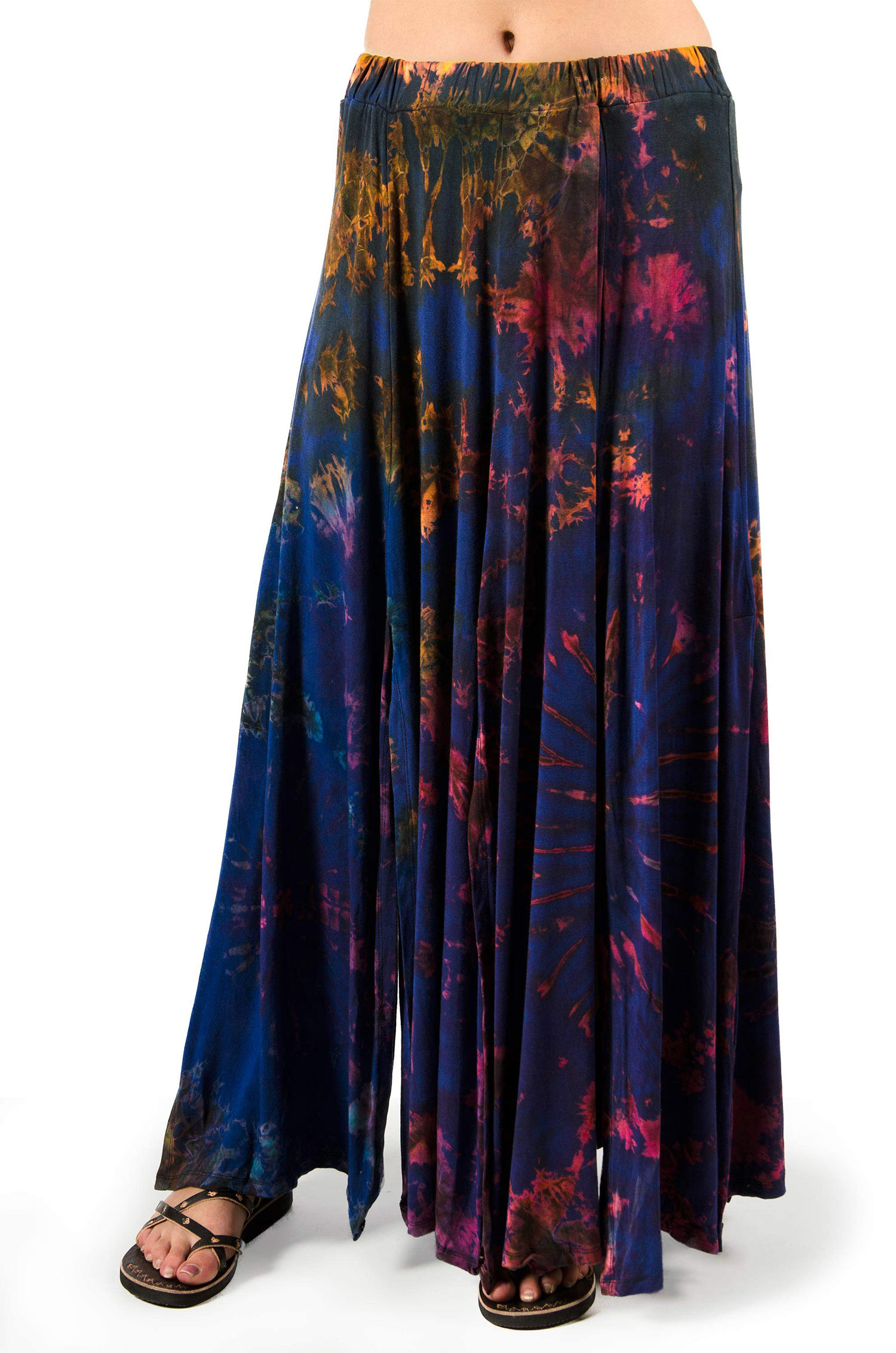 Hand Painted Tie Dye Maxi Skirt Blue