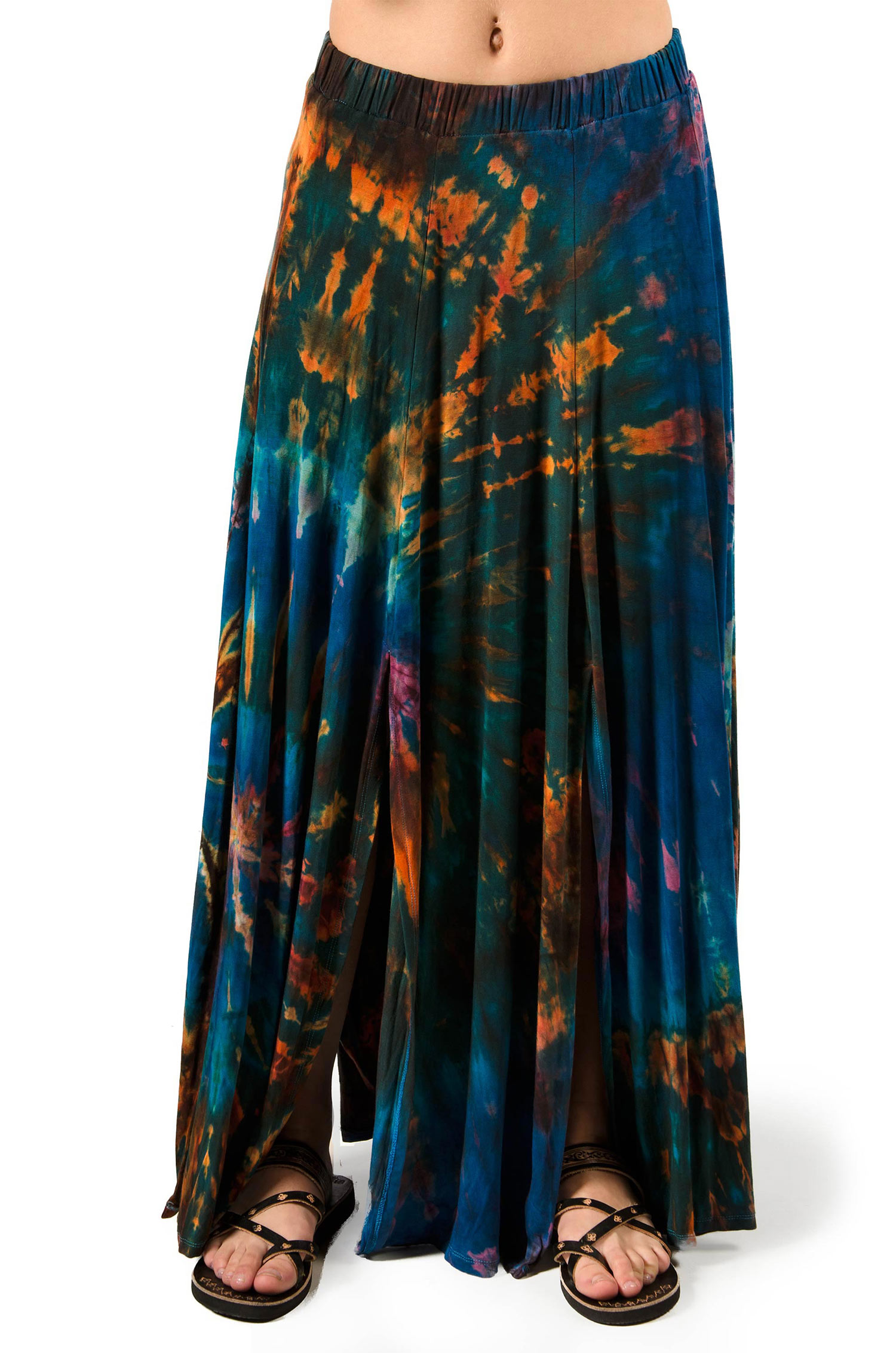 Hand Painted Tie Dye Maxi Skirt Teal