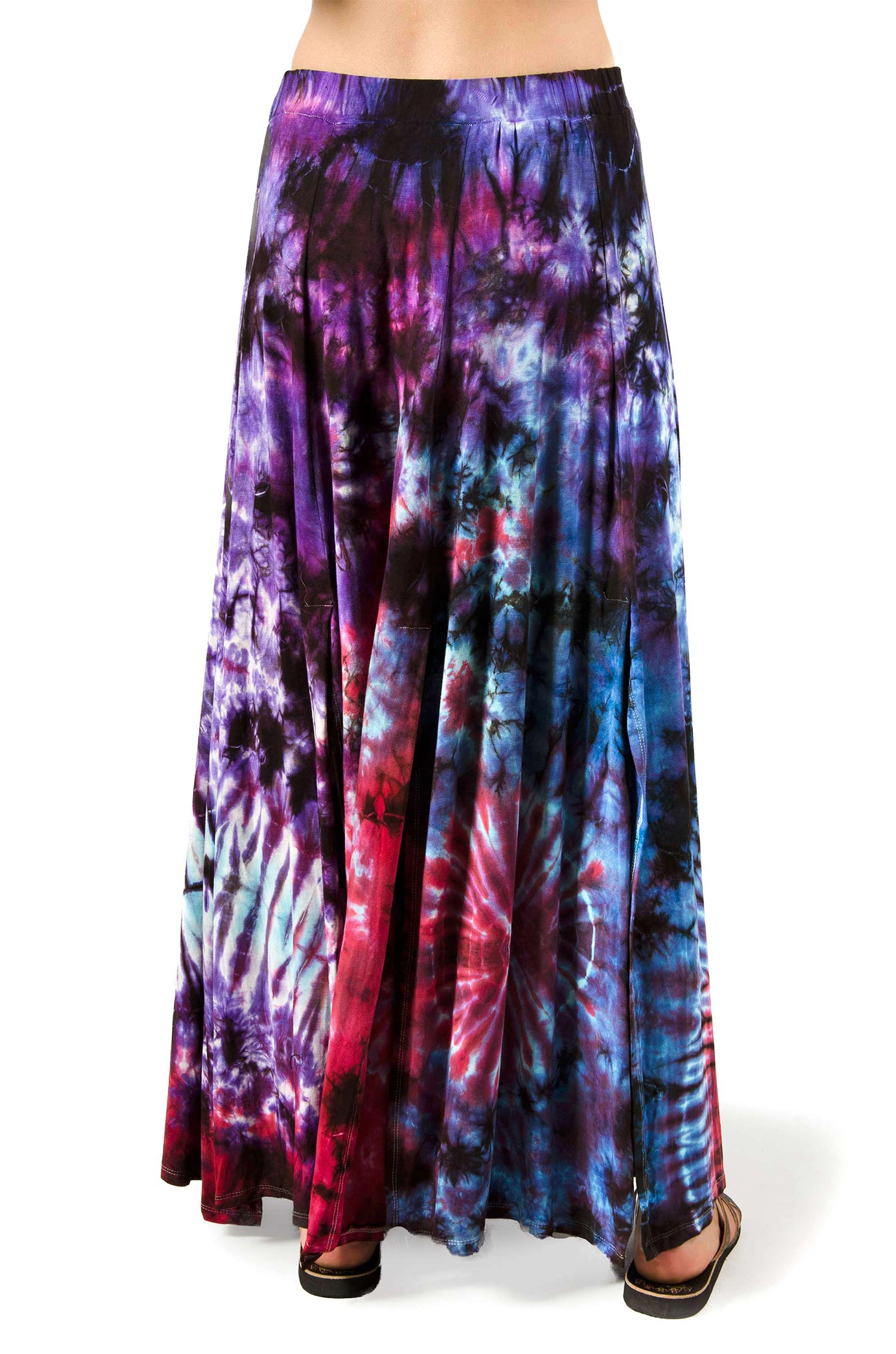 Hand Painted Tie Dye Maxi Skirt Purple