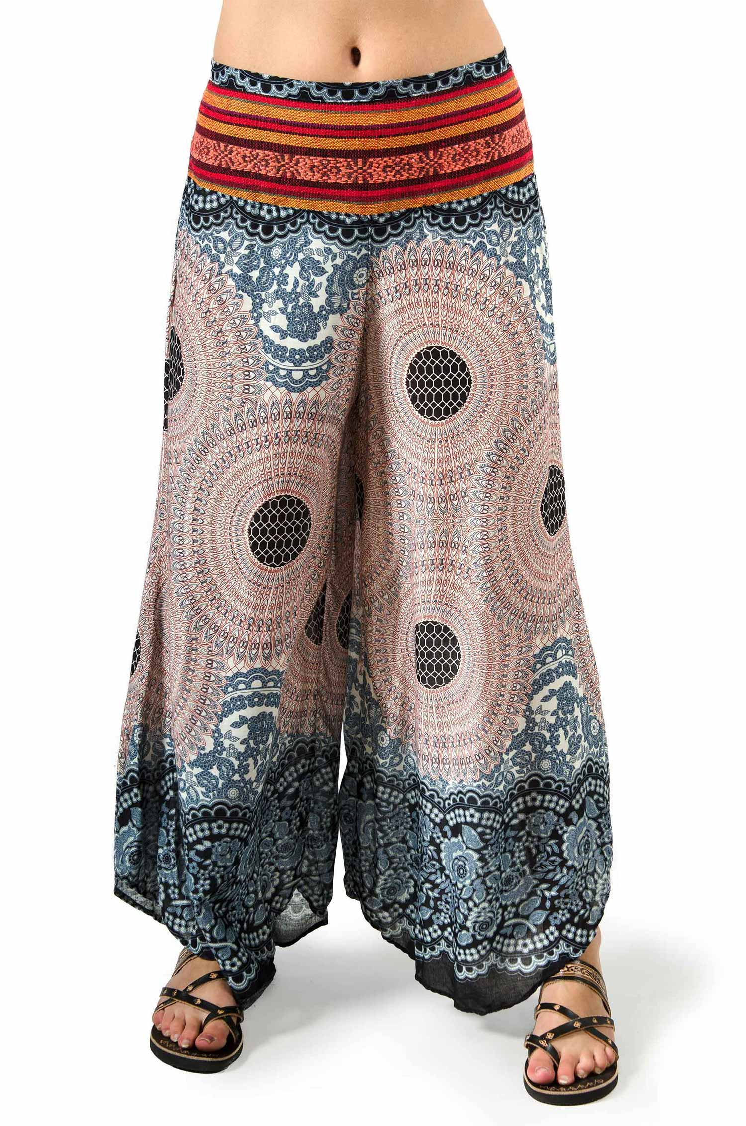 Honeycomb Print Wide Leg Pants Tan Multi  - 3669Y