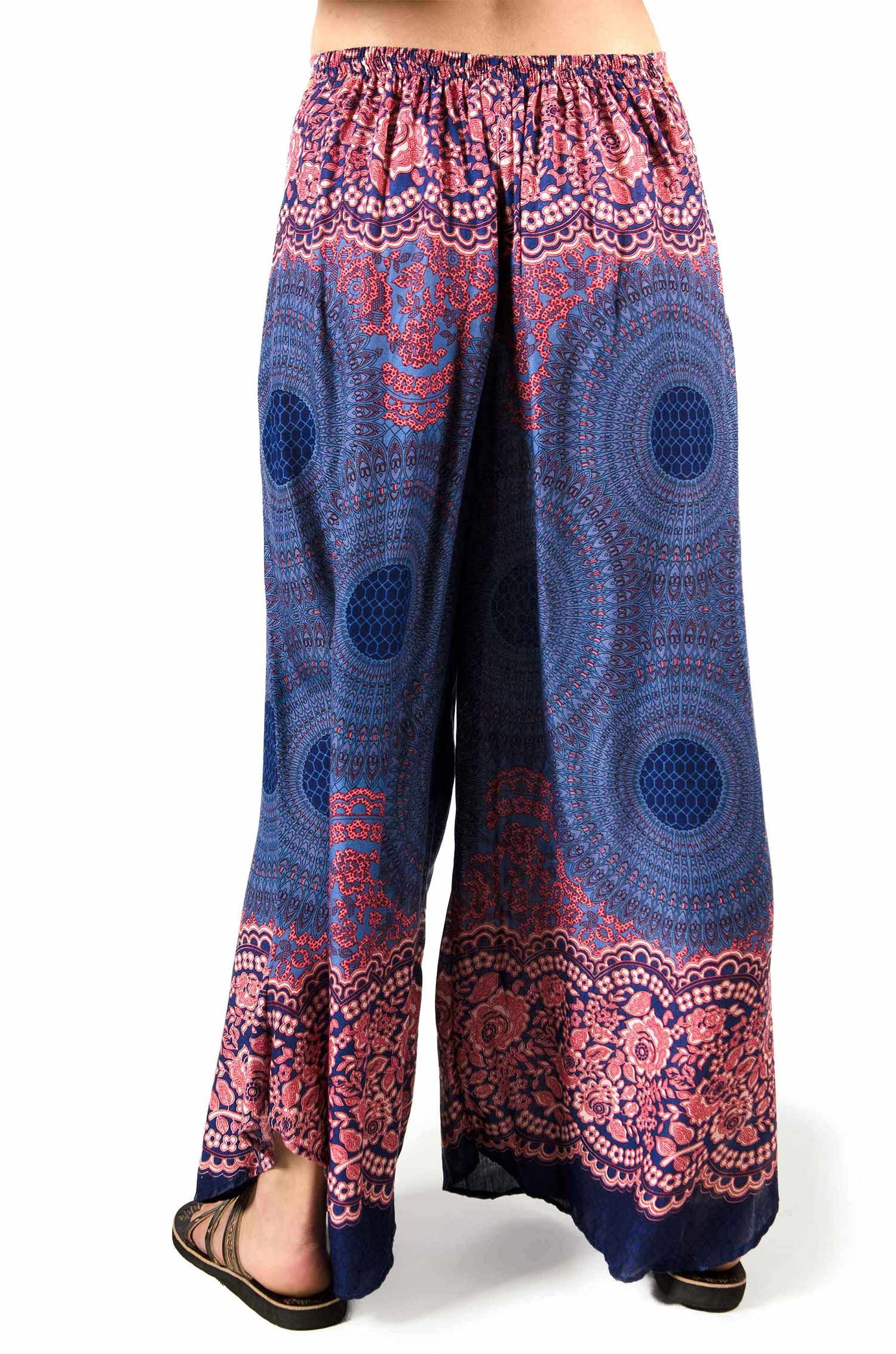 Honeycomb Print Wide Leg Pants - Blue - 3669B