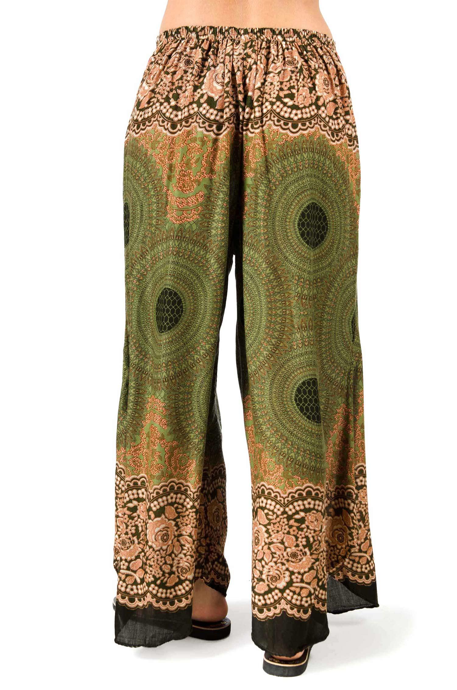 Honeycomb Print Wide Leg Print Pants - Olive - 3669G