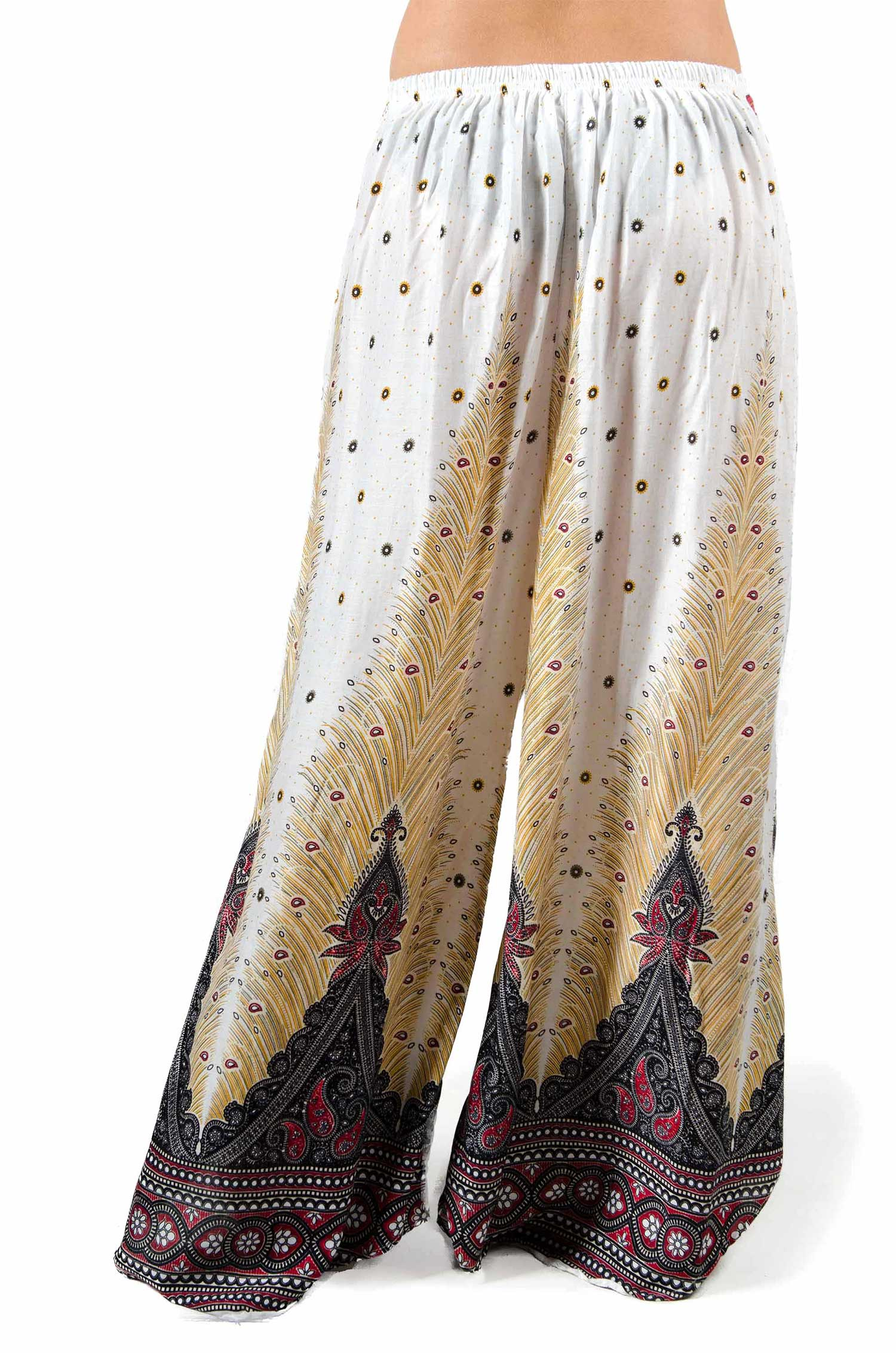 Wide Leg Print Pants - White - 3669W