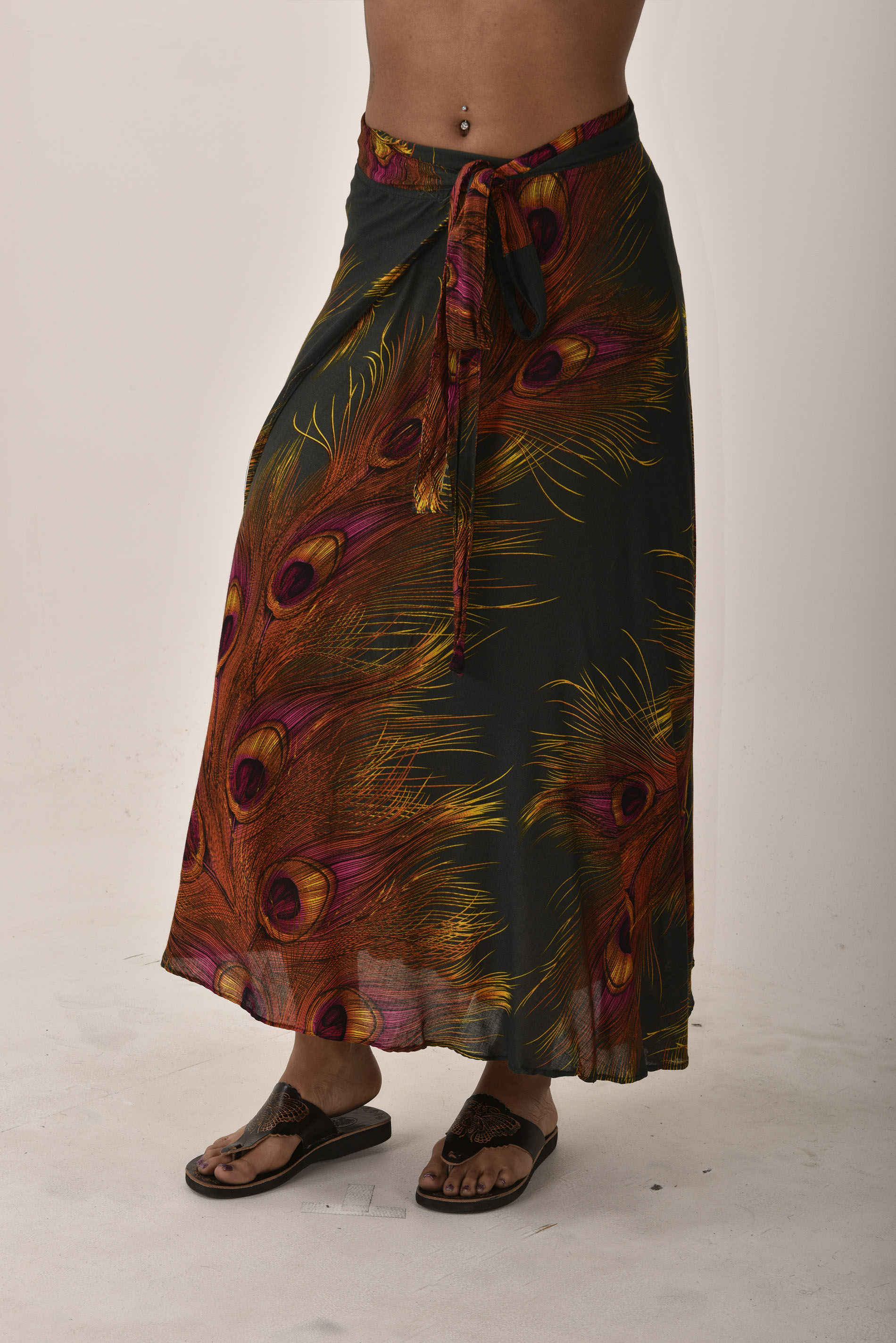 Peacock Print Long Wrap Skirt Green