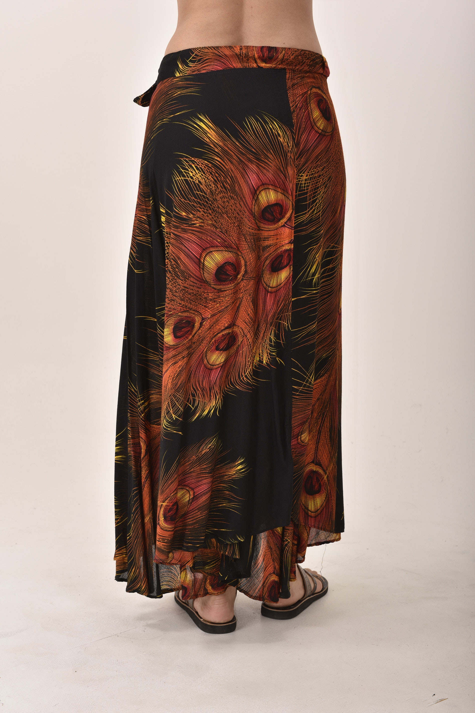 Peacock Print Long Wrap Skirt  Black