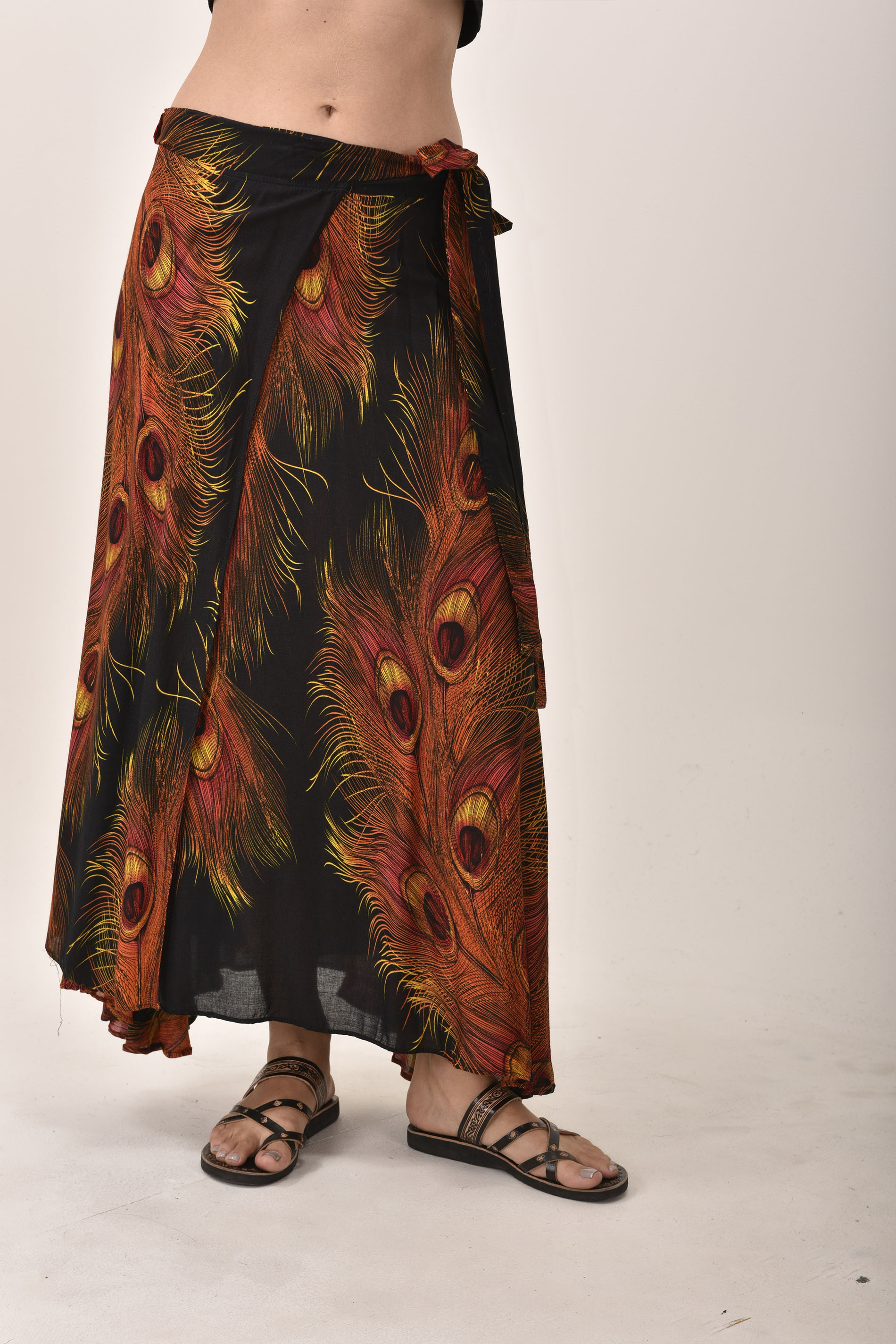 Long Wrap Skirt, Peacock Print, Black