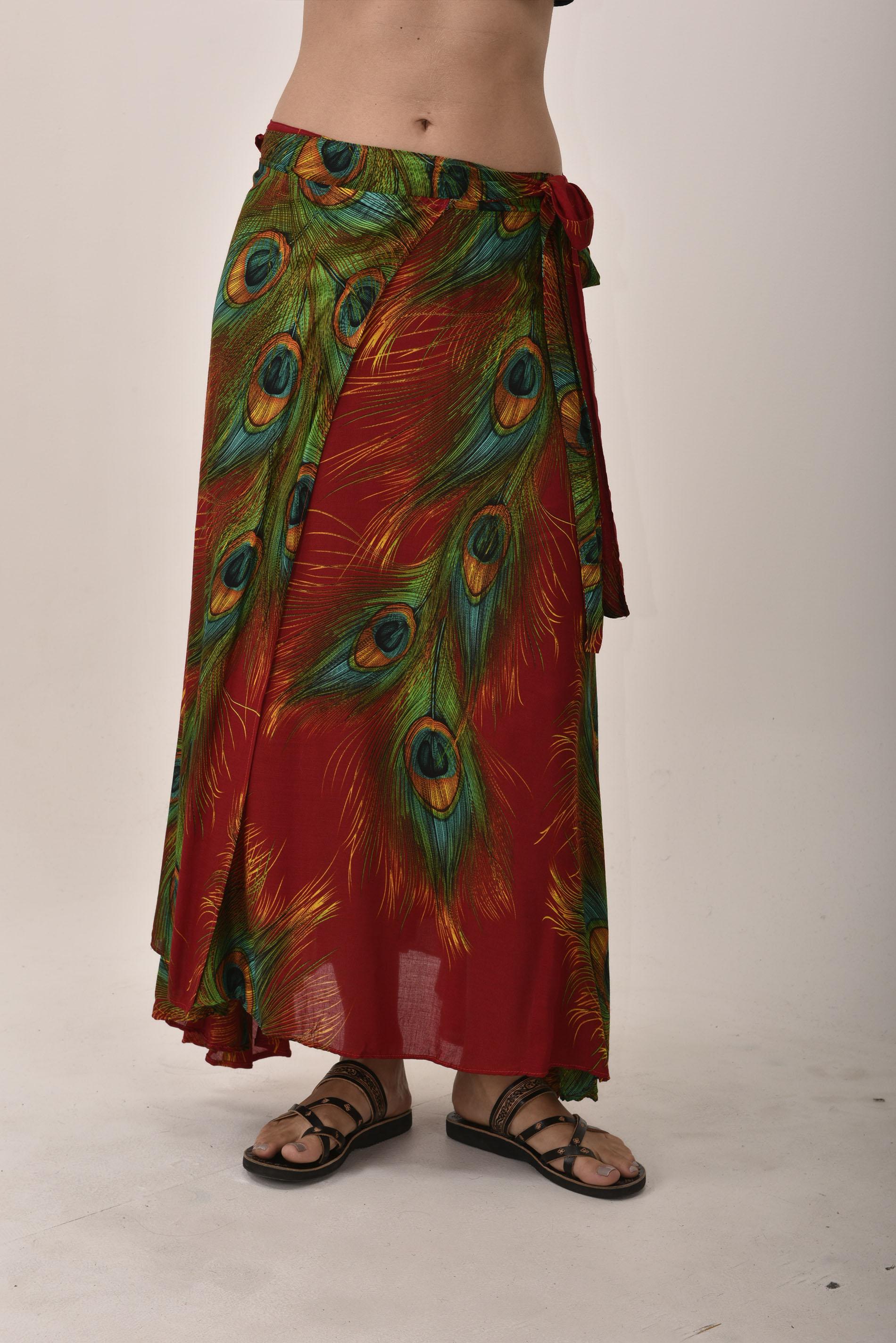Long Wrap Skirt, Peacock Print, Red / Rayon