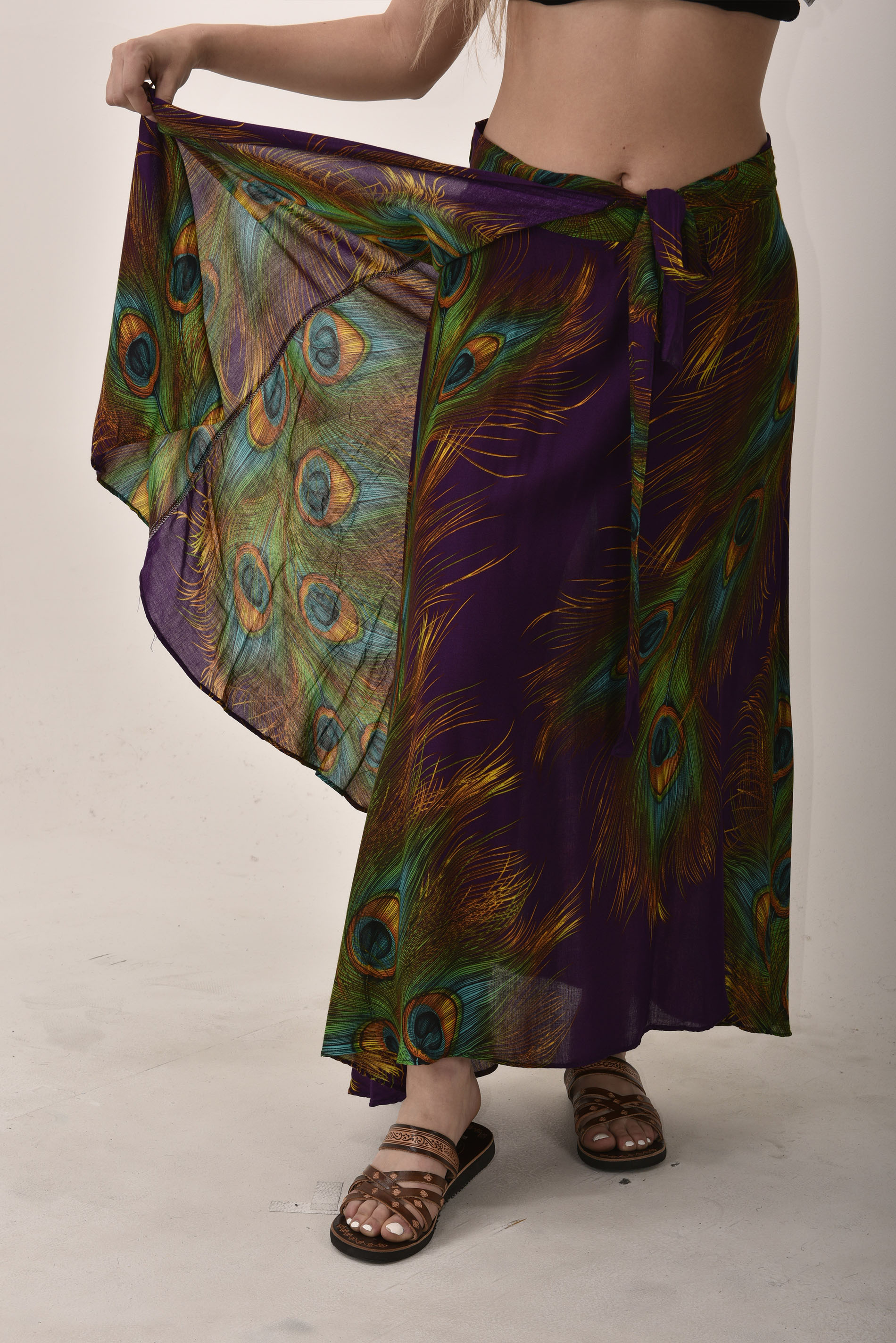 Peacock Print Long Wrap Skirt Purple
