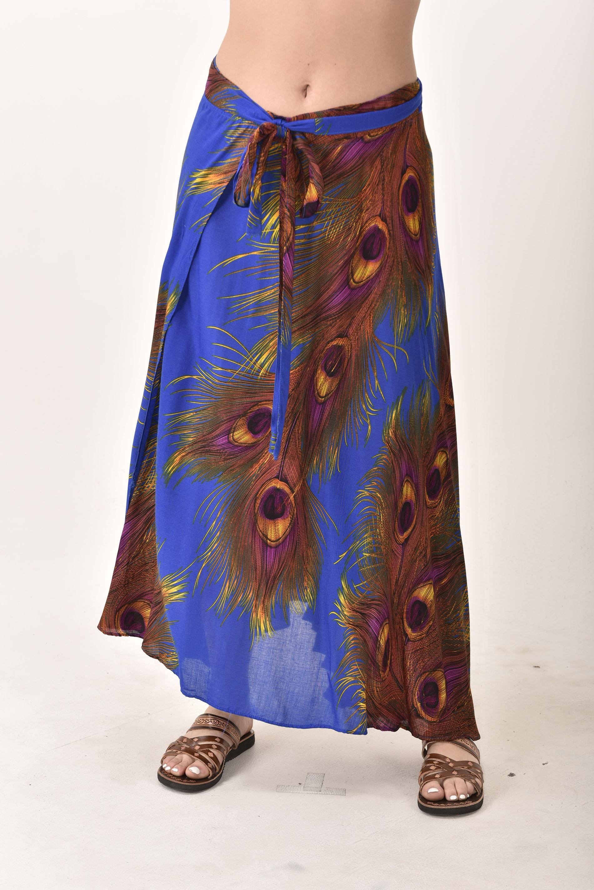 Peacock Print Long Wrap Skirt Blue