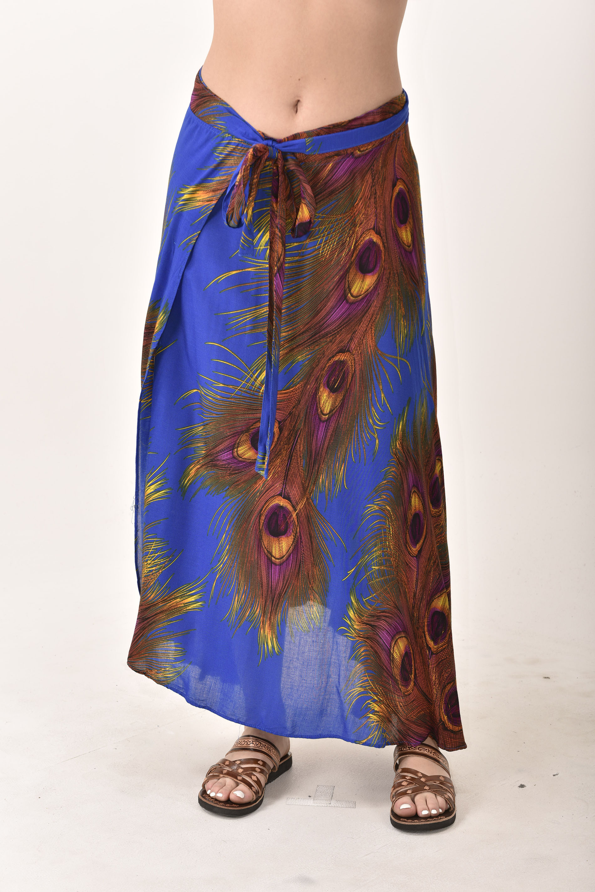 Peacock Print Long Wrap Skirt Blue