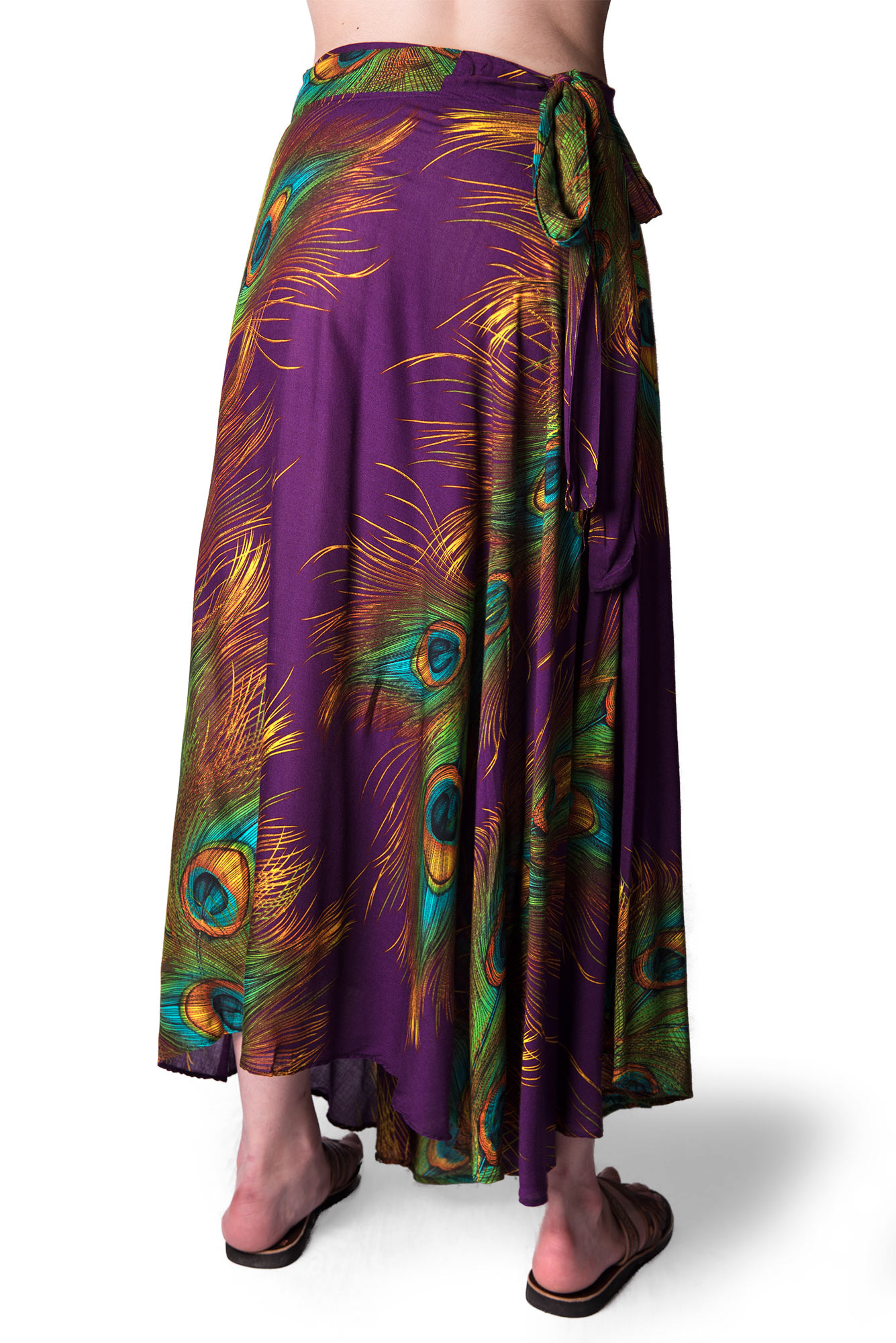 Long Wrap Skirt, Peacock Print, Purple