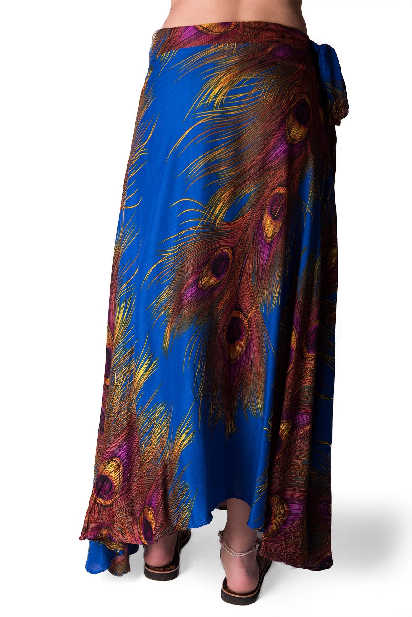 Long Wrap Skirt, Peacock Print, Blue