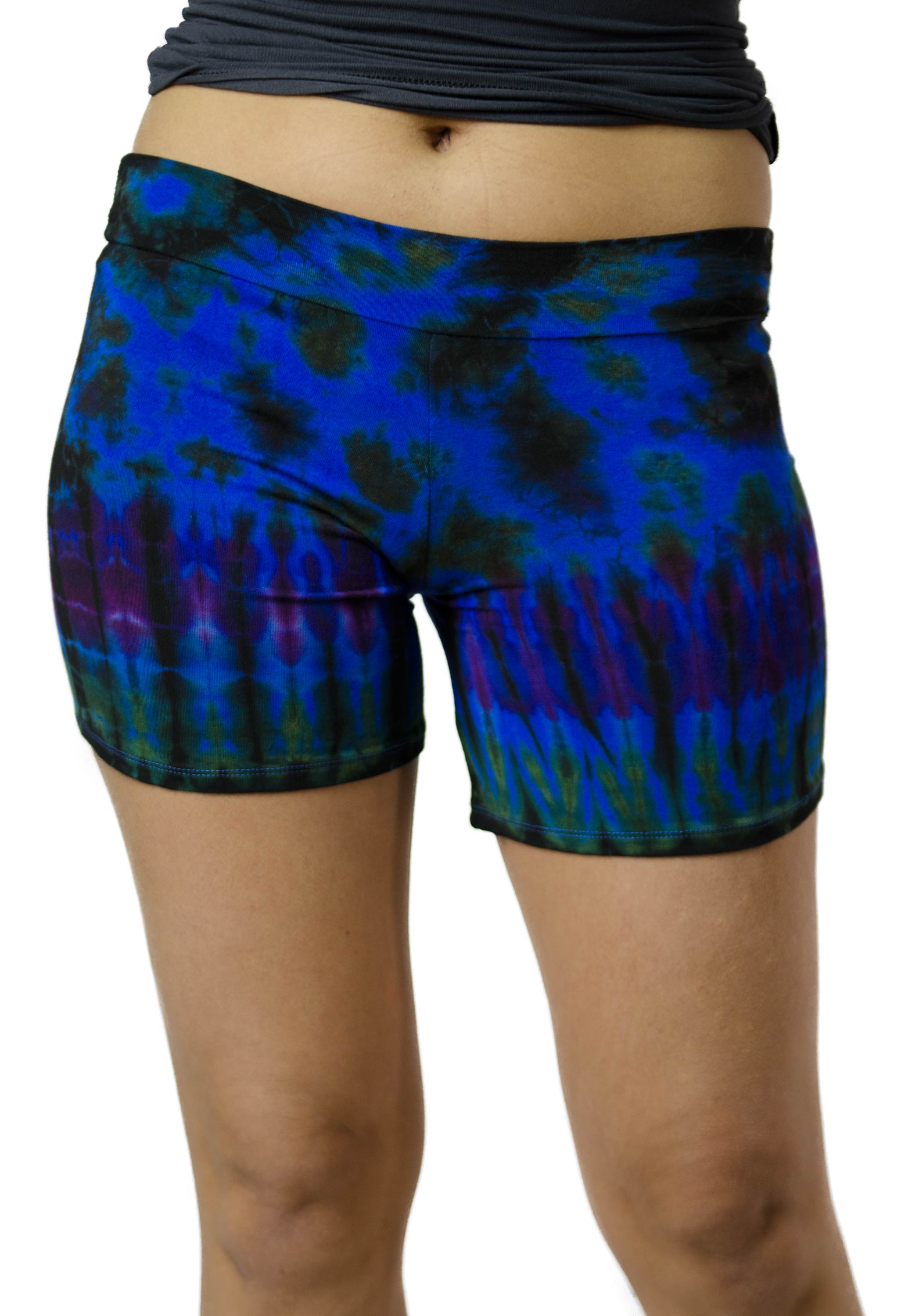Hand Painted Tie Dye Mini Shorts - Blue Multi