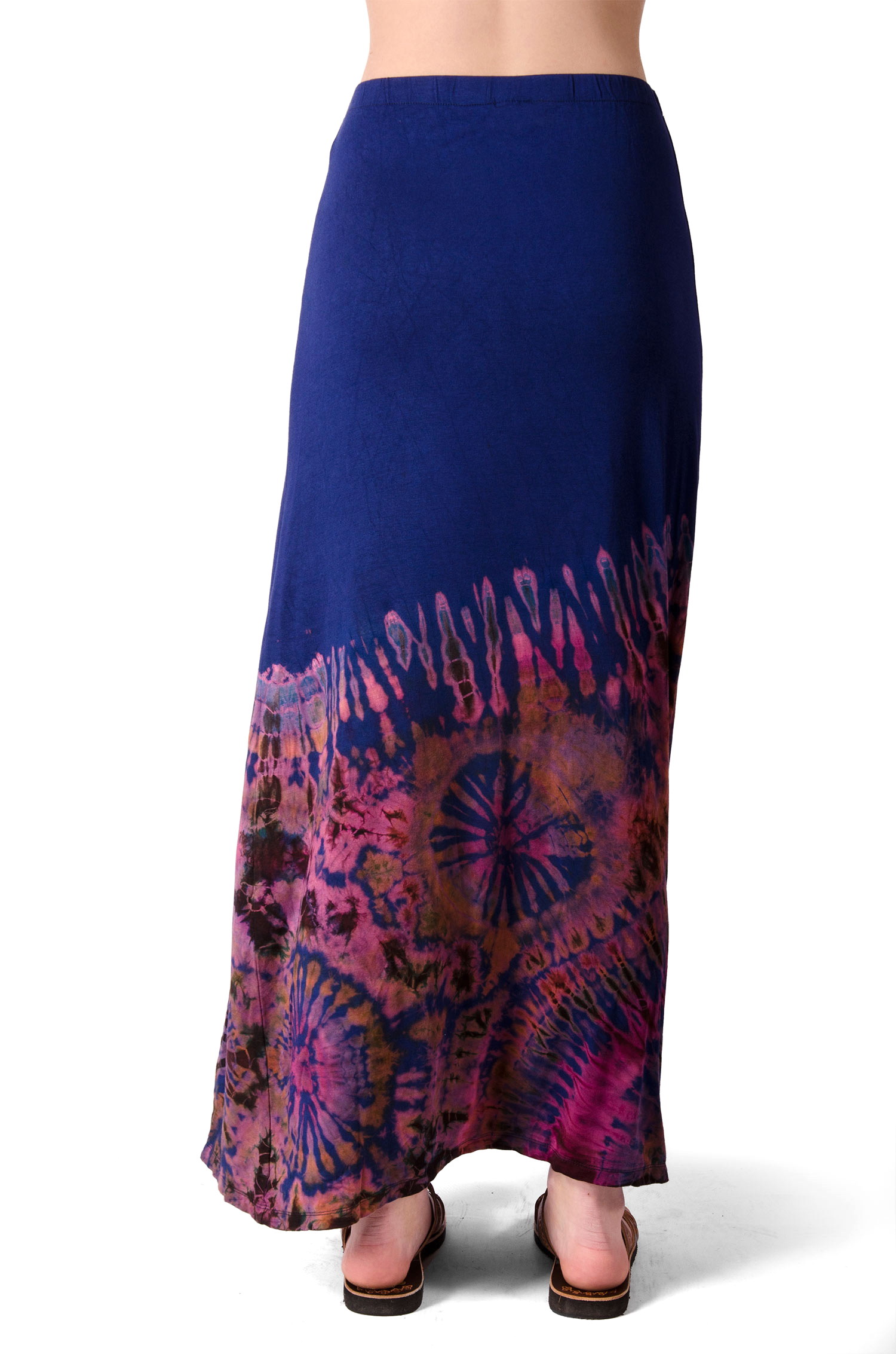 Hand Painted Tie Dye Split Leg Maxi Skirt Blue