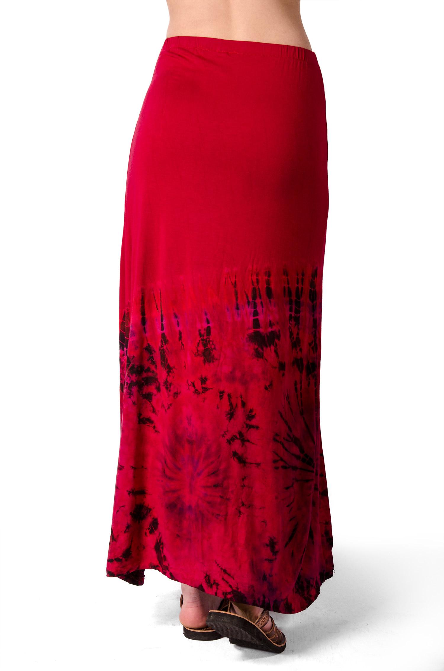 Hand Painted Tie Dye Split Leg Maxi Skirt Red