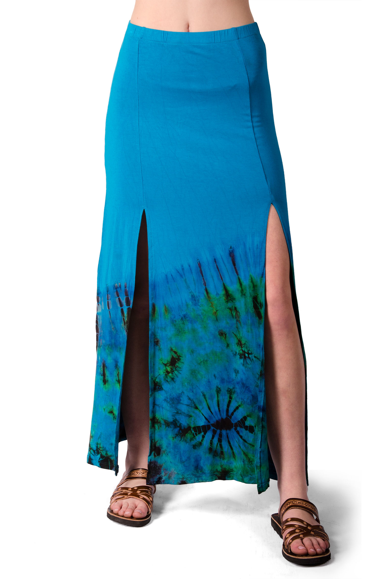 Hand Painted Tie Dye,Split Leg Maxi Skirt, Teal Multi