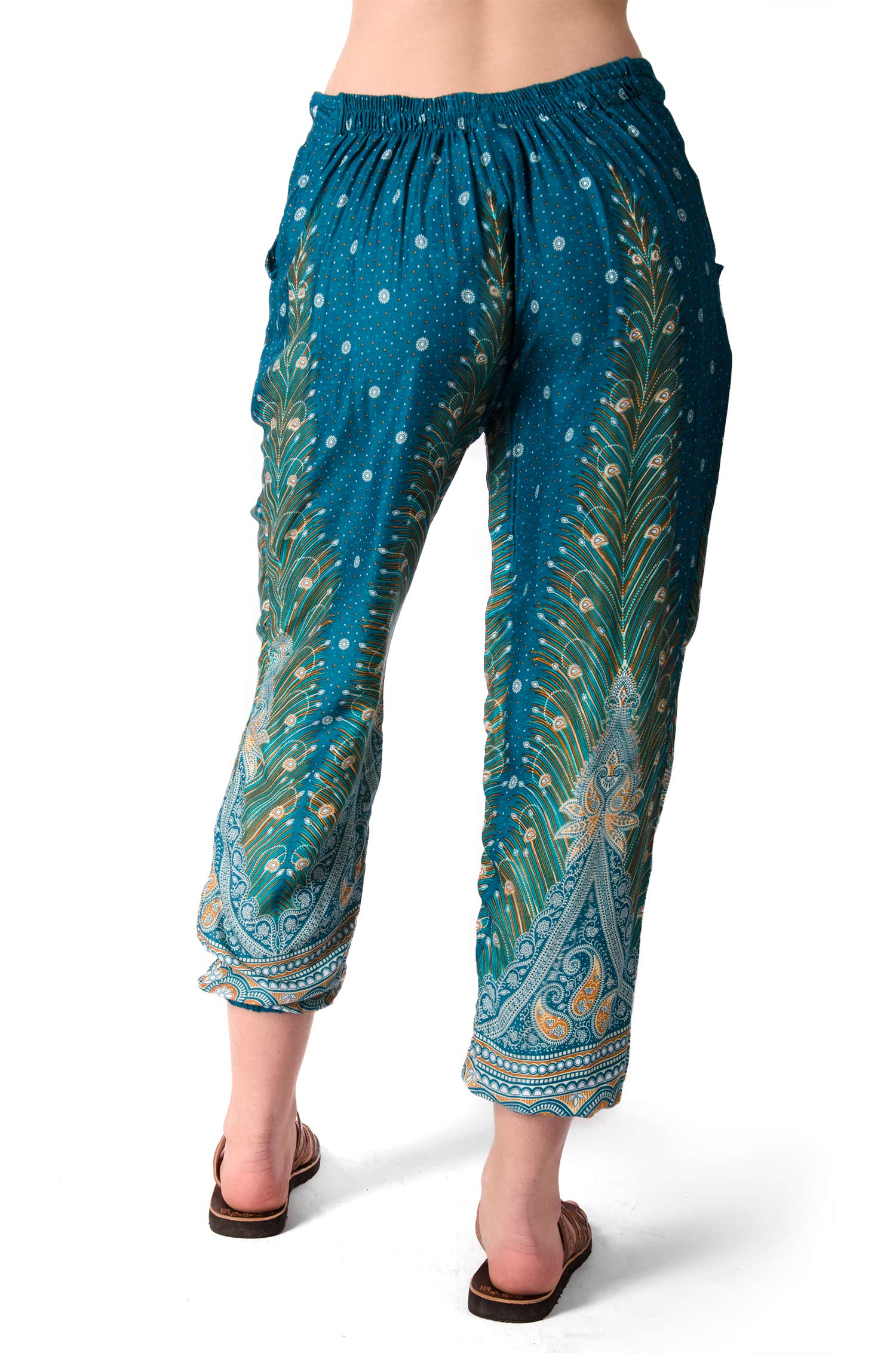 Peacock Print Capri Pants - Teal Multi - 4473G