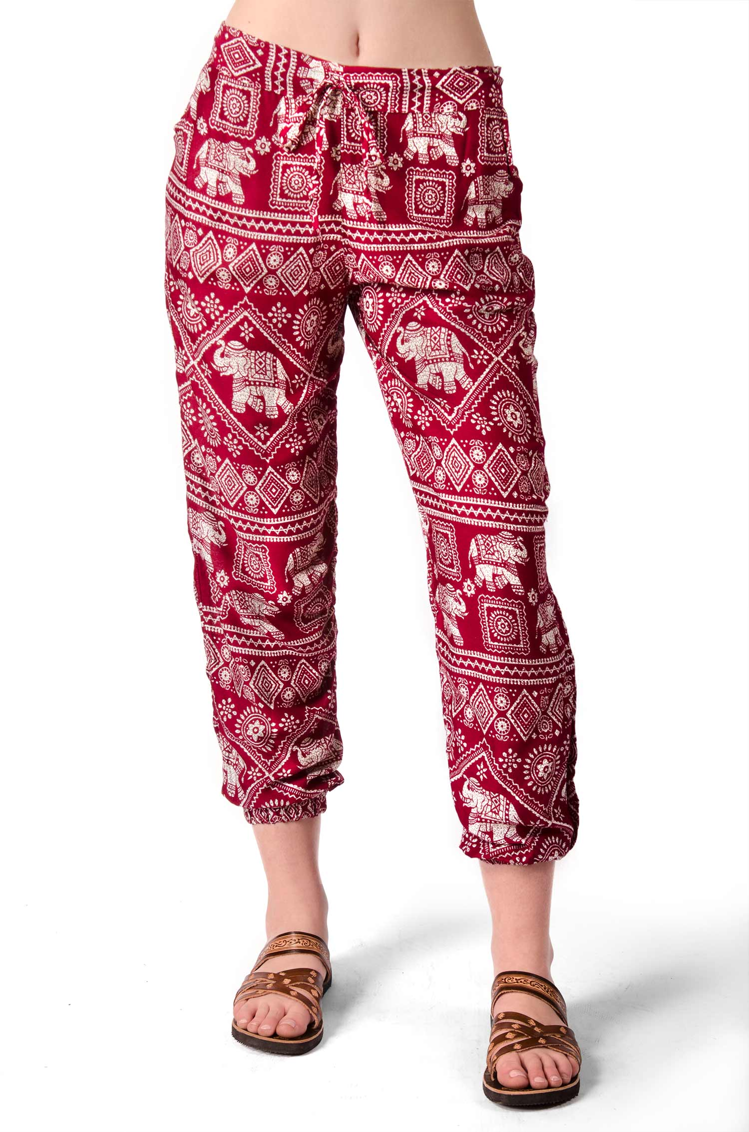 Elephant Print Capri Pants - Red - 4473R