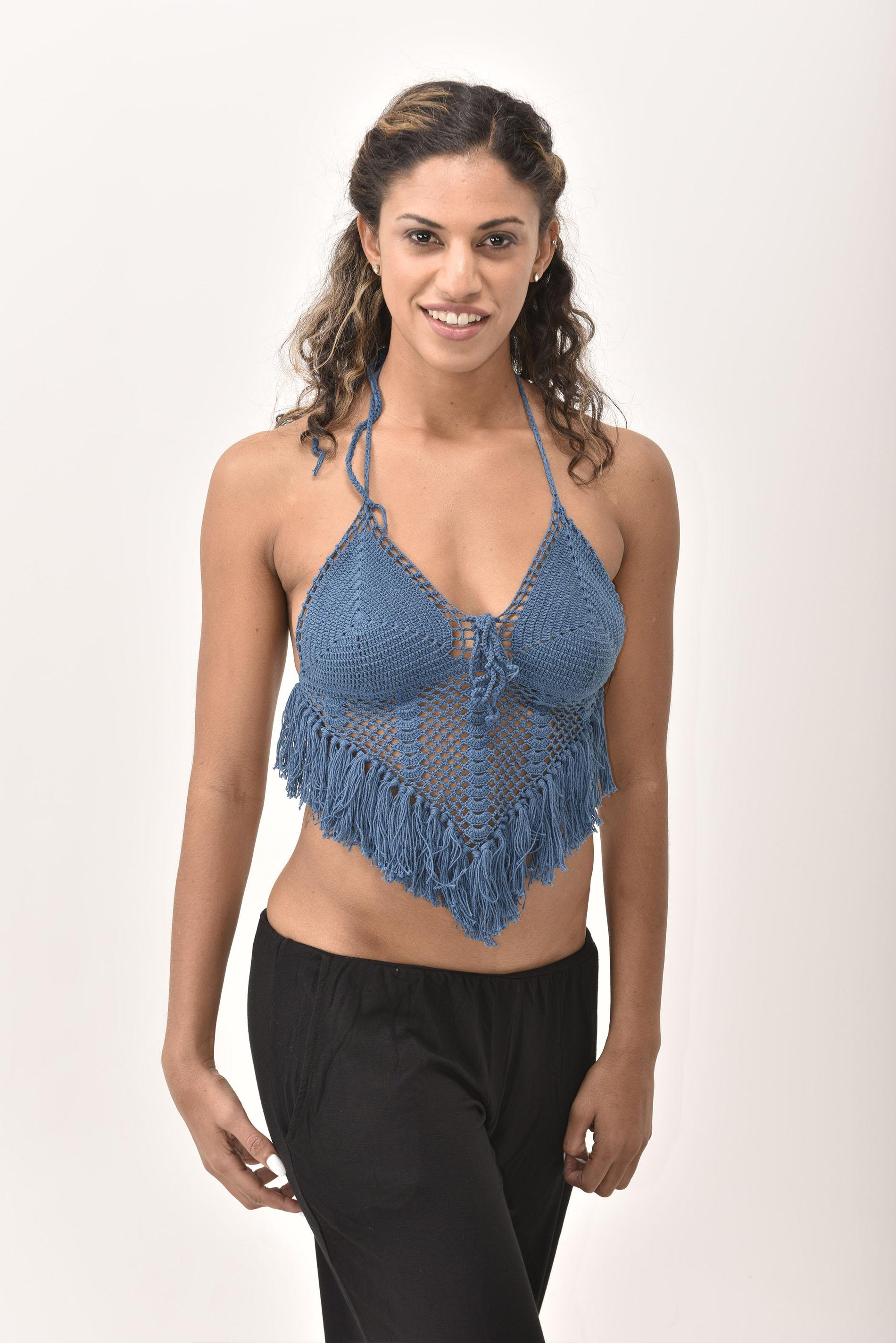 Crochet Top, Blue - 4474B