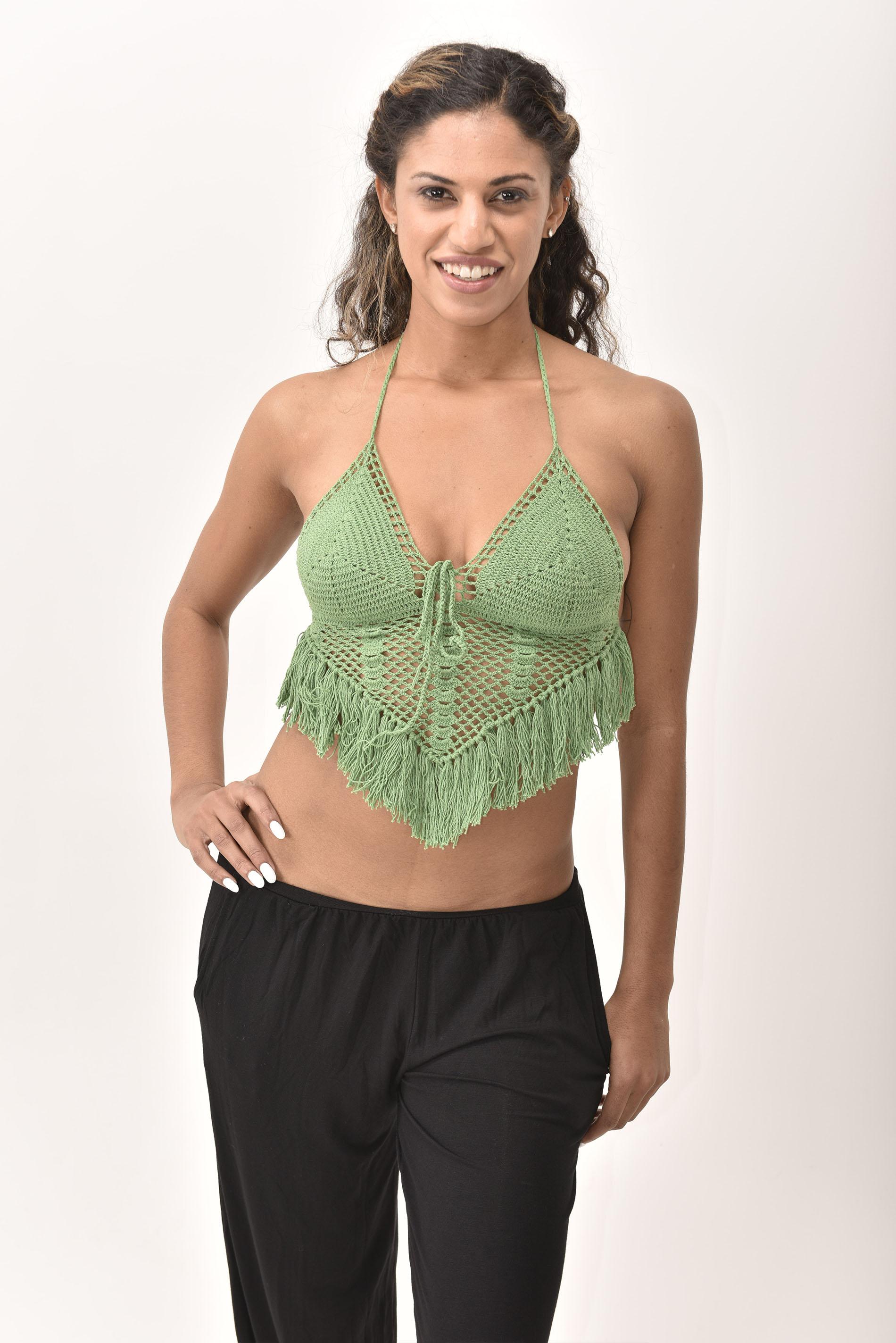 Crochet Top, Green - 4474G