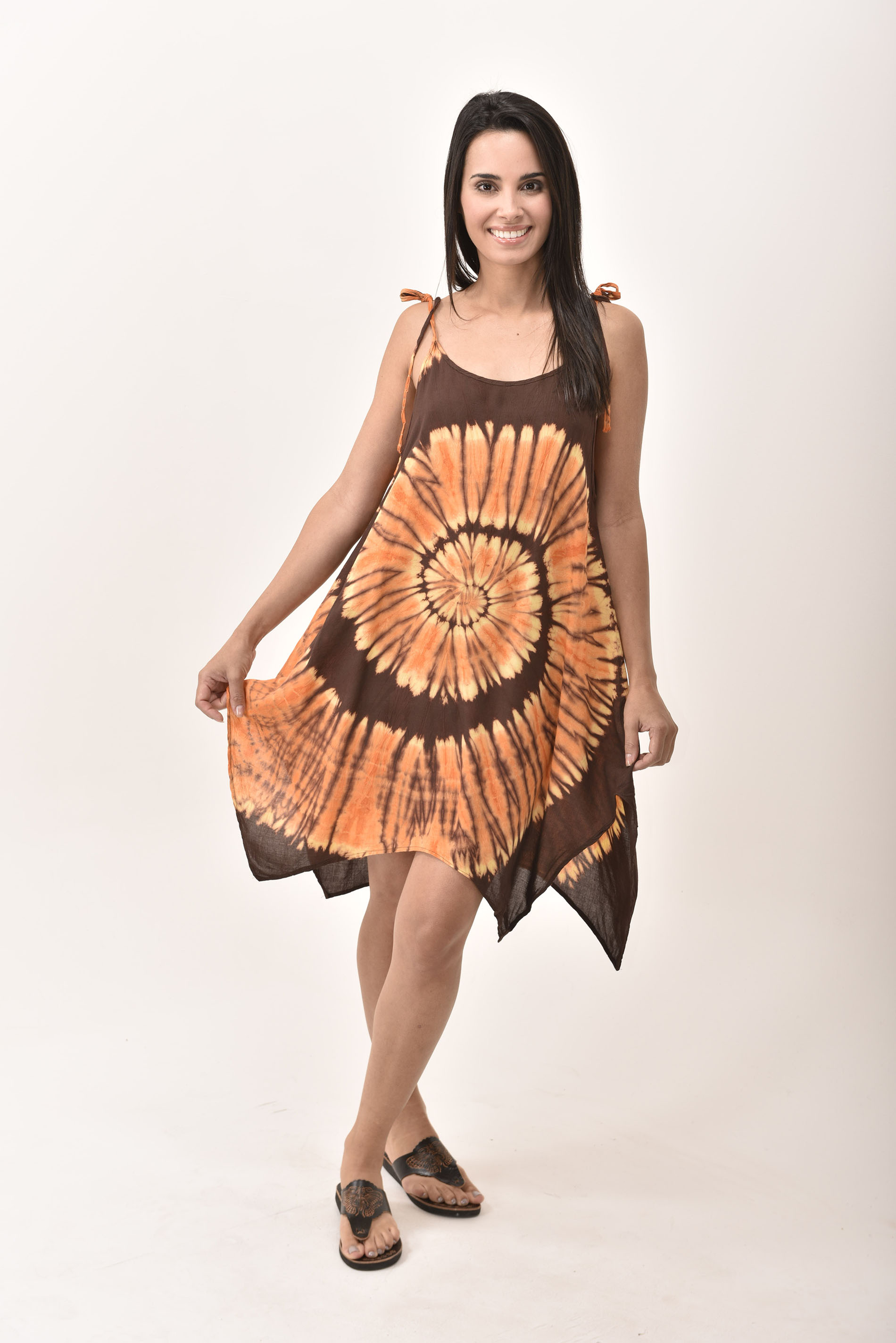 Fairy-Cut Dress, Hand Painted Tie Dye, Orange Brown Multi