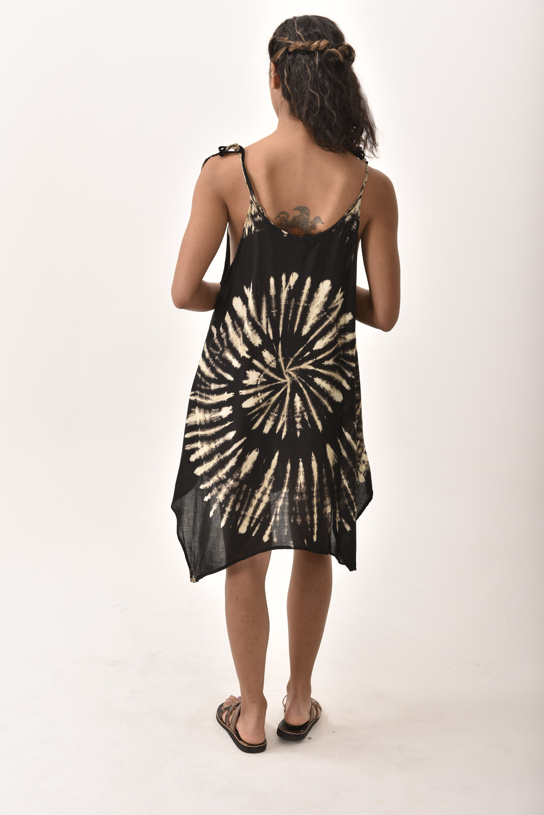 Fairy-Cut Dress, Hand Painted Tie Dye, Black Taupe Multi
