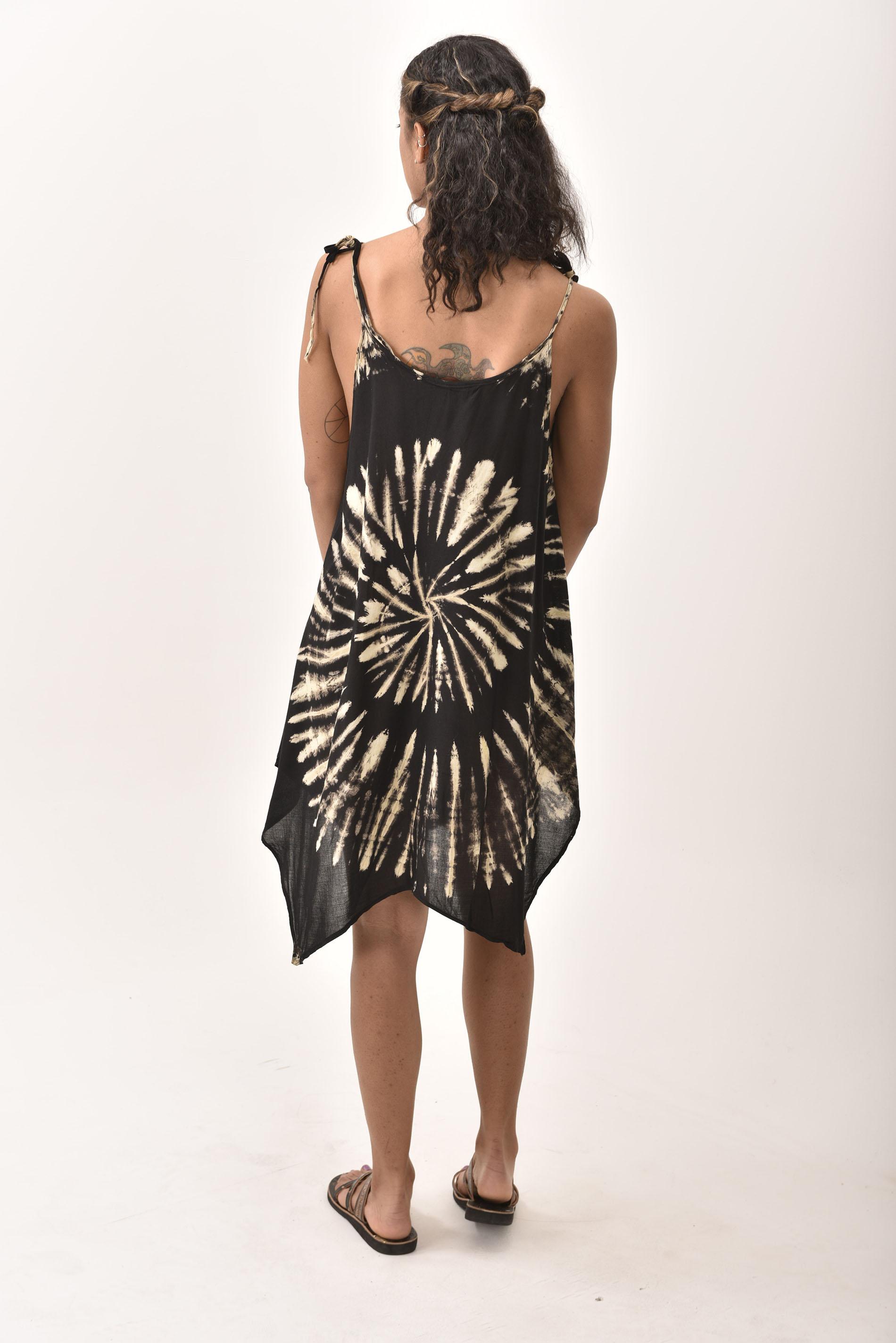 Fairy-Cut Dress, Hand Painted Tie Dye, Black Taupe Multi