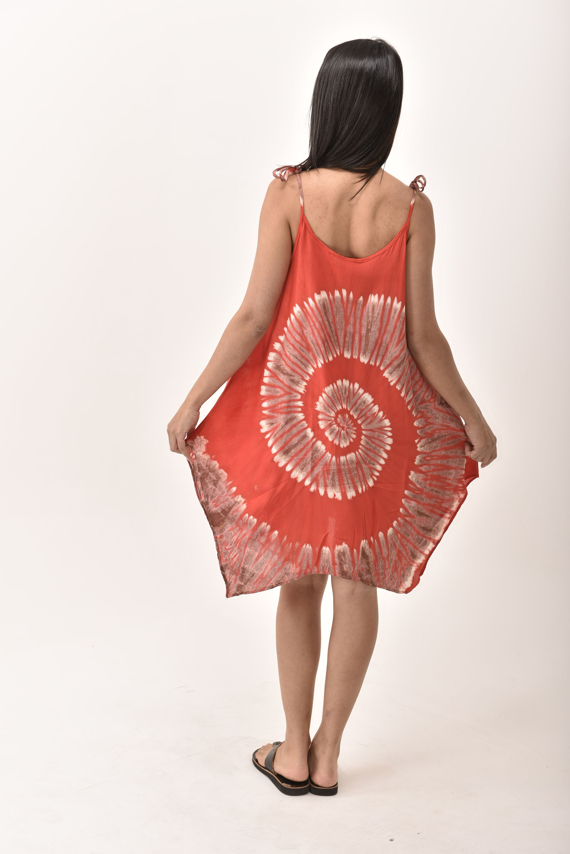 Fairy-Cut Dress, Hand Painted Tie Dye, Red Multi