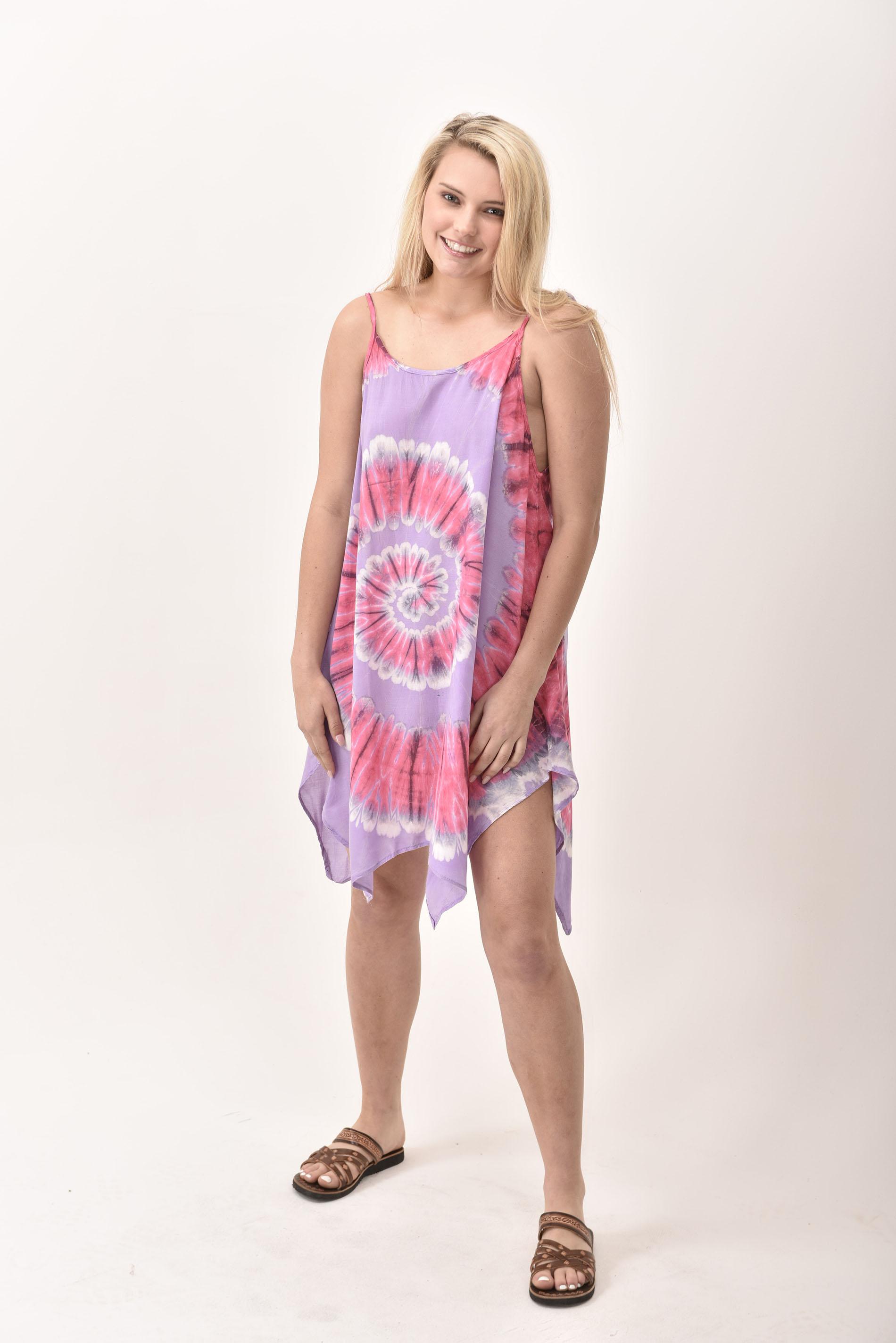 Fairy-Cut Dress, Hand Painted Tie Dye, Pink Lavender Multi