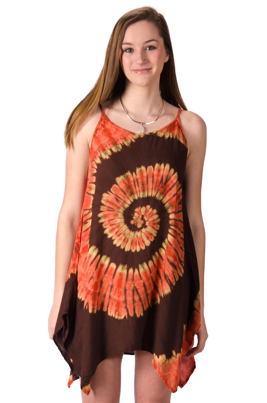 Fairy-Cut Dress, Hand Painted Tie Dye, Orange Brown Multi