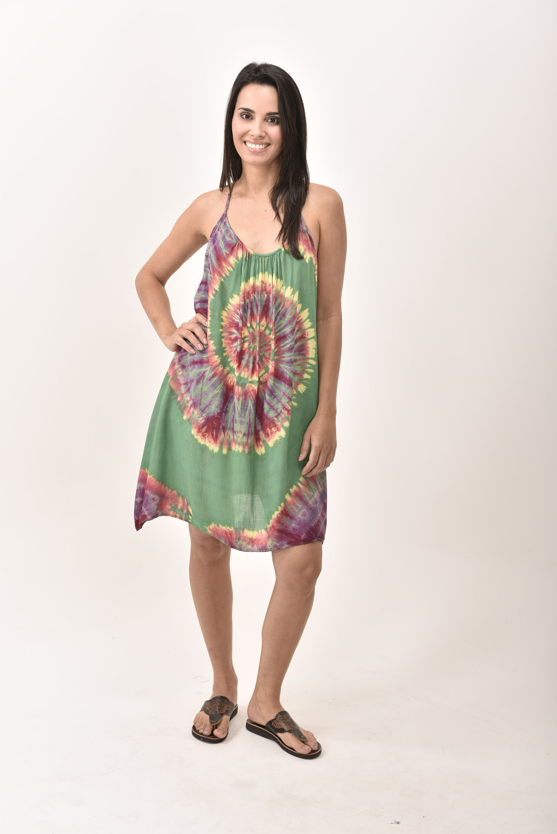 Mini Shift Dress Hand Painted Tie Dye, Green