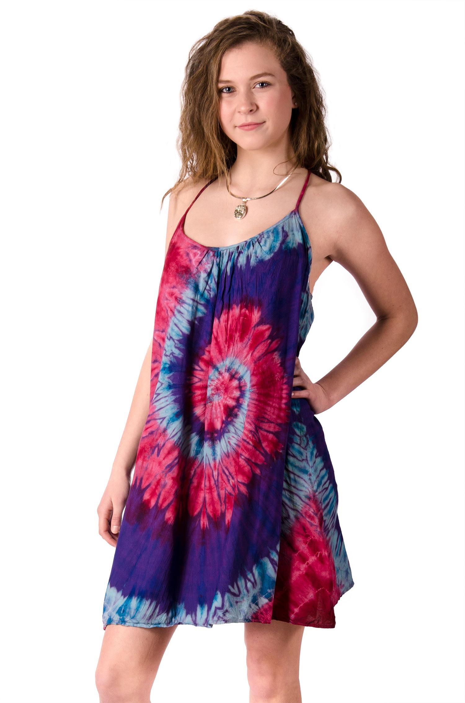 Mini Shift Dress Hand Painted Tie Dye, Blue Pink