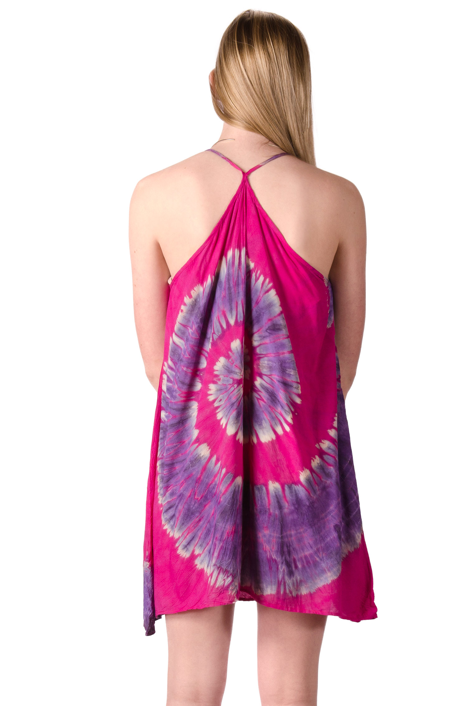 Mini Shift Dress Hand Painted Tie Dye, Pink Purple