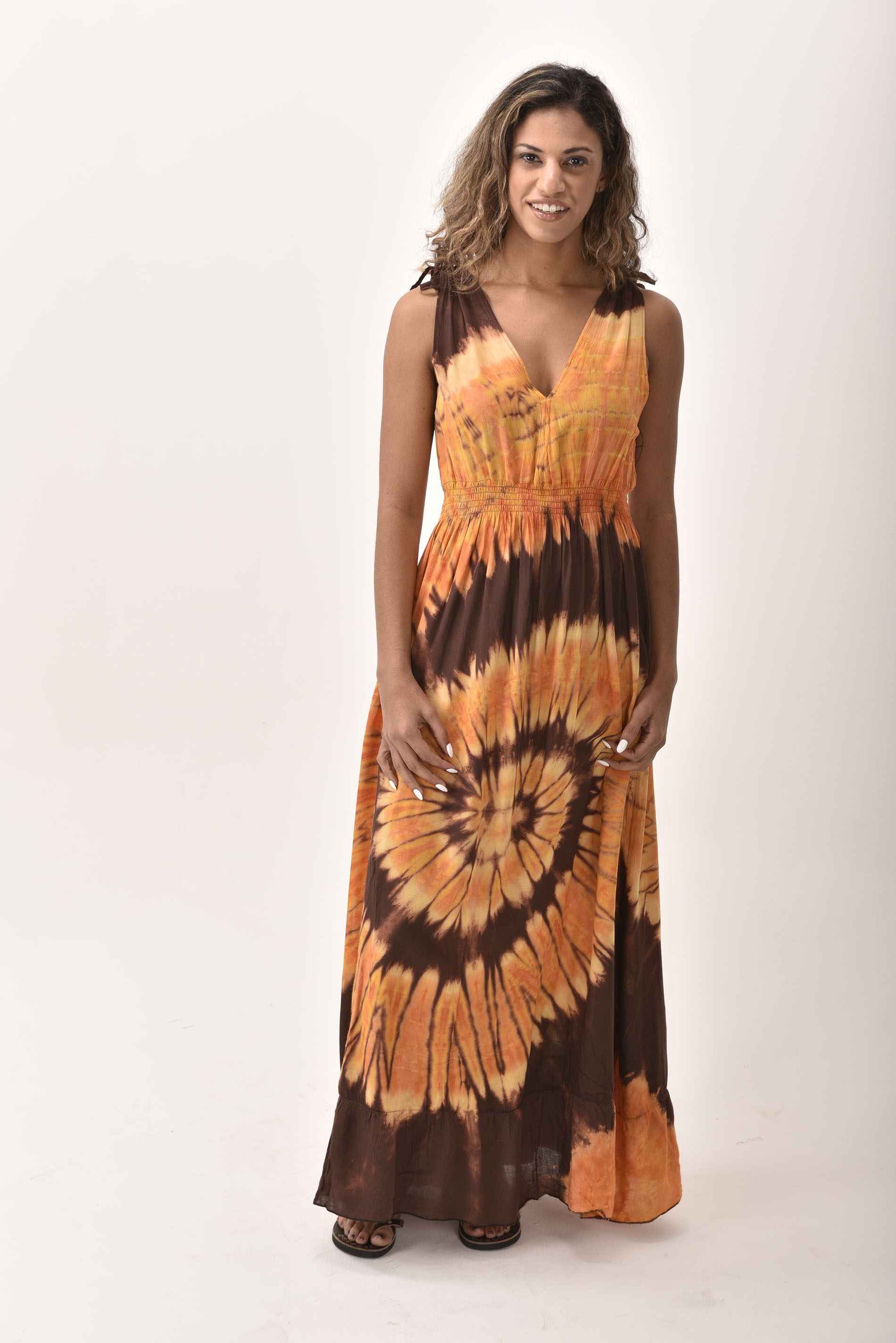 V-Neck Maxi Dress Hand Painted Tie Dye, Orange Brown
