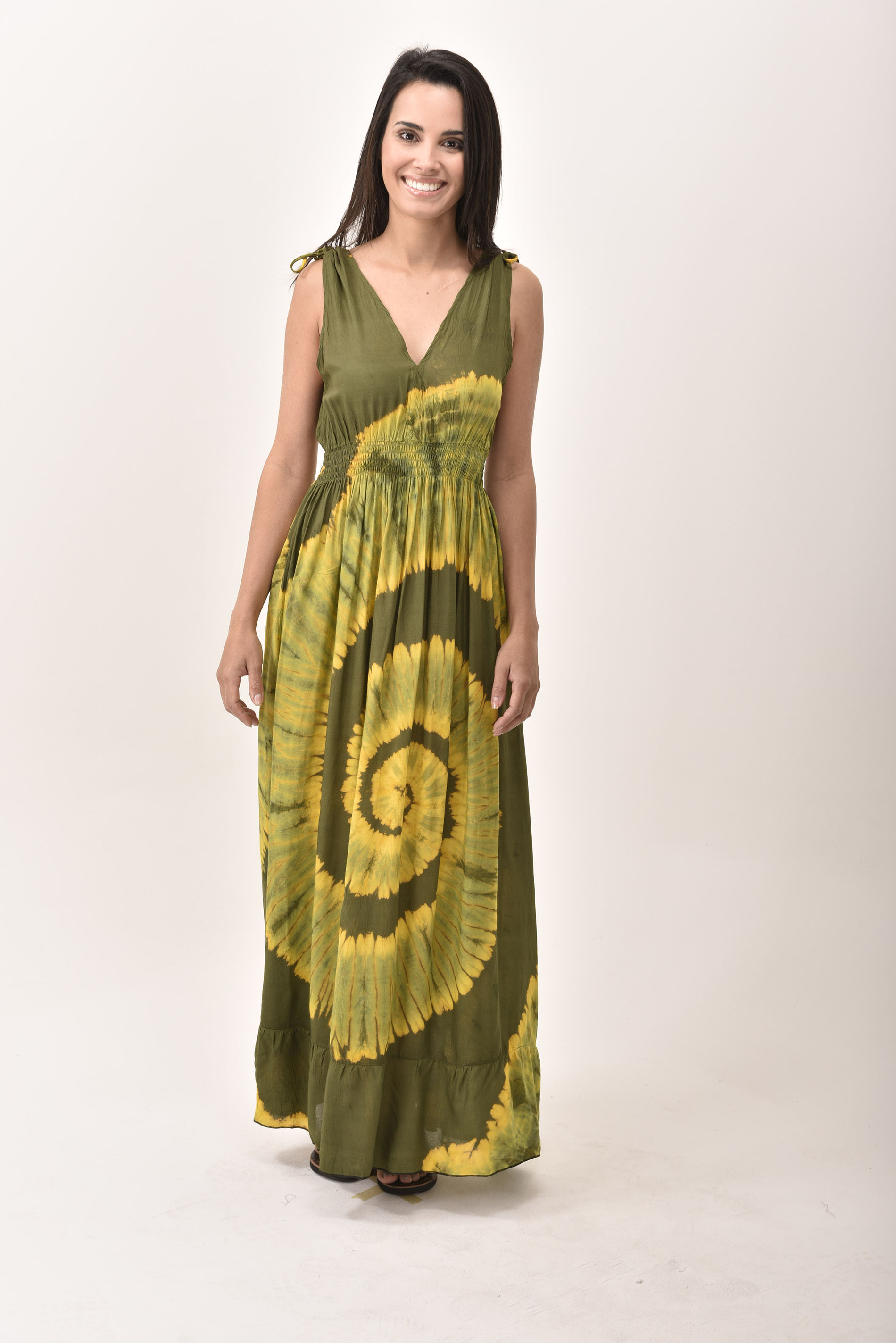 V-Neck Maxi Dress Hand Painted Tie Dye, Green