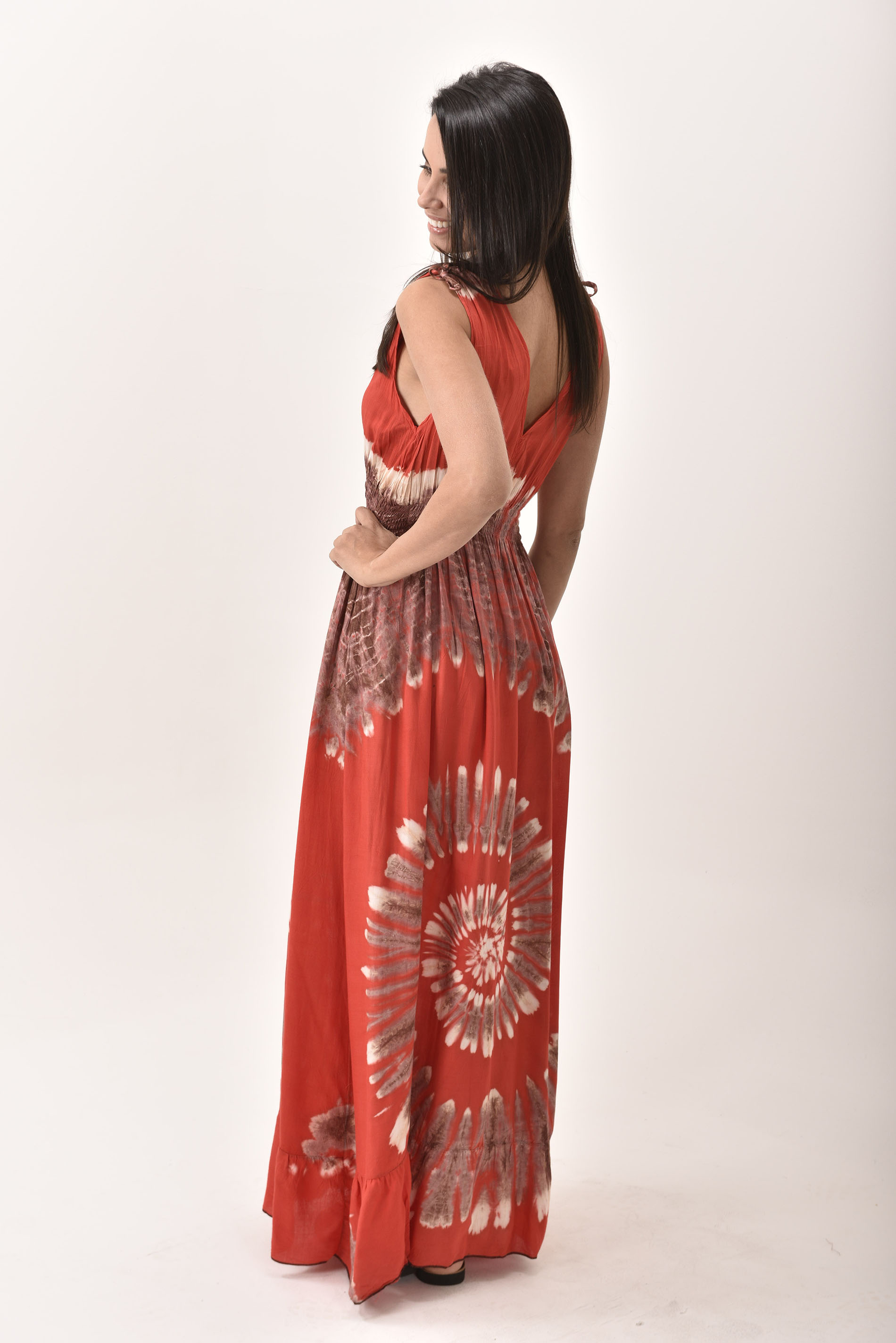 V-Neck Maxi Dress Hand Painted Tie Dye, Red
