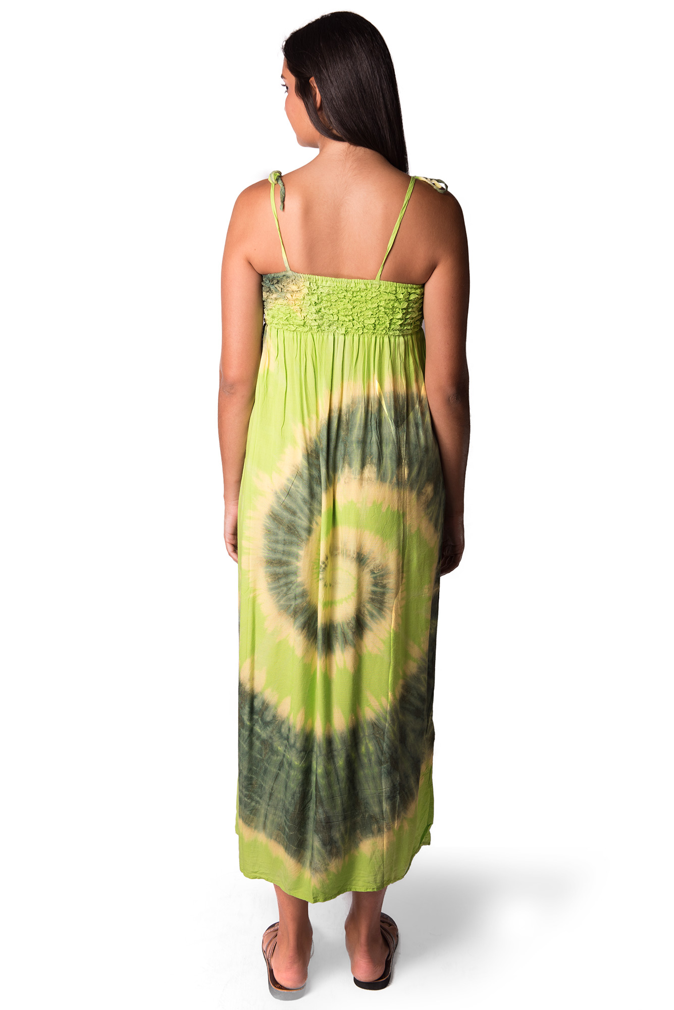 Maxi Dress, Hand Painted Tie Dye, Green