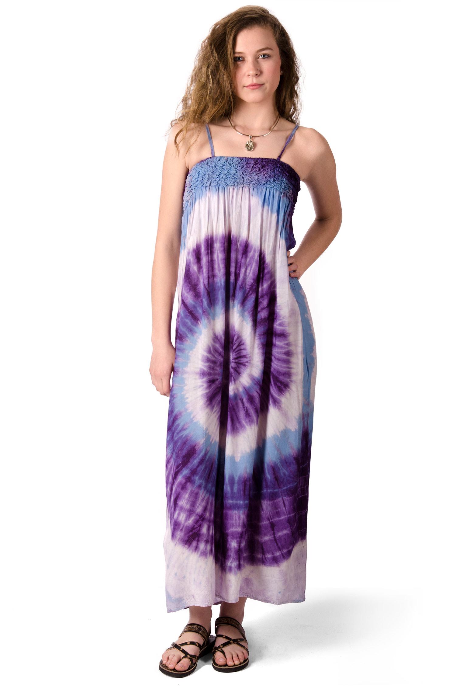 Maxi Dress, Hand Painted Tie Dye, Purple