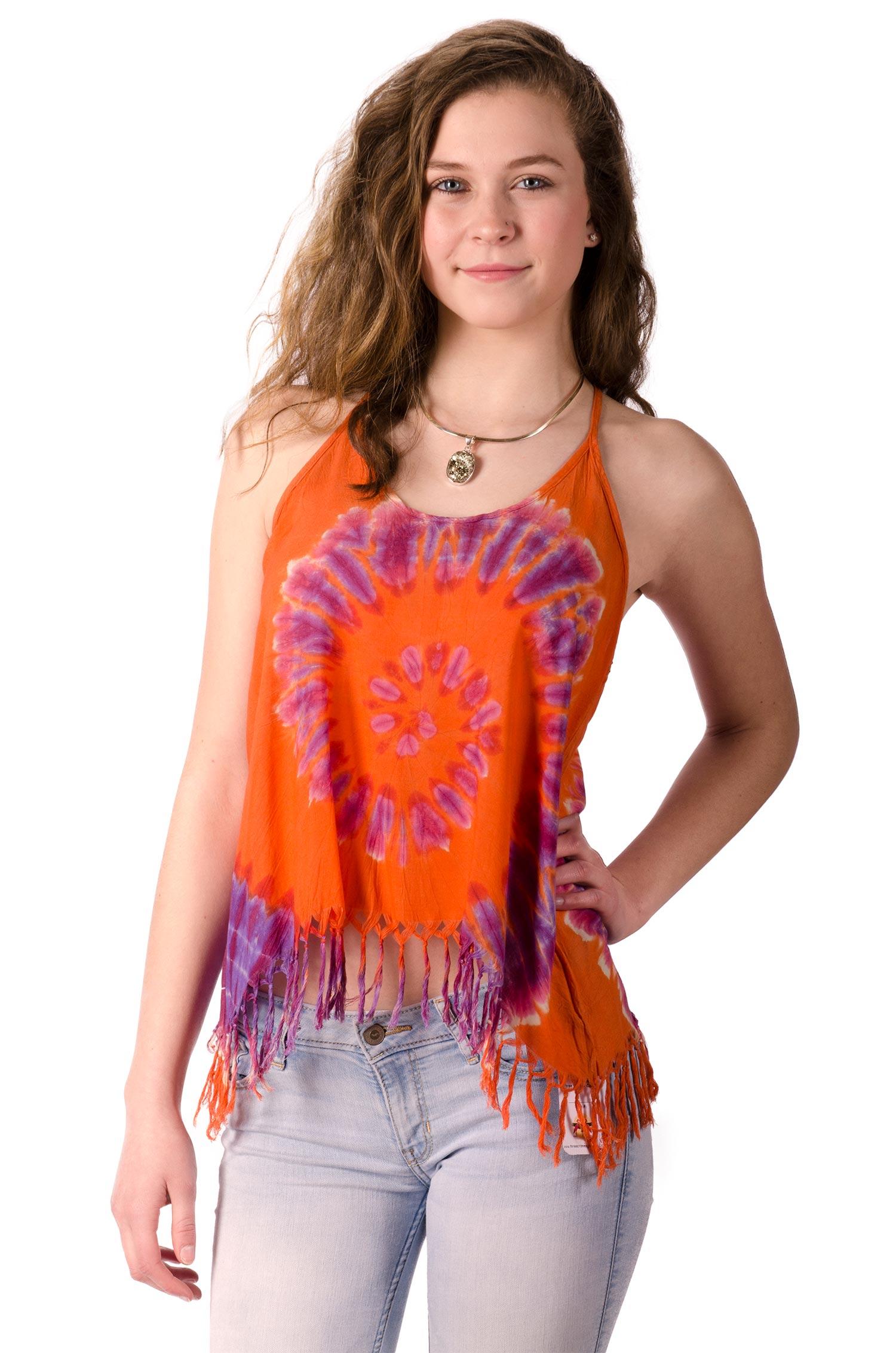 Fringed Cami Crop Top Hand Painted Tie Dye, Orange Multi
