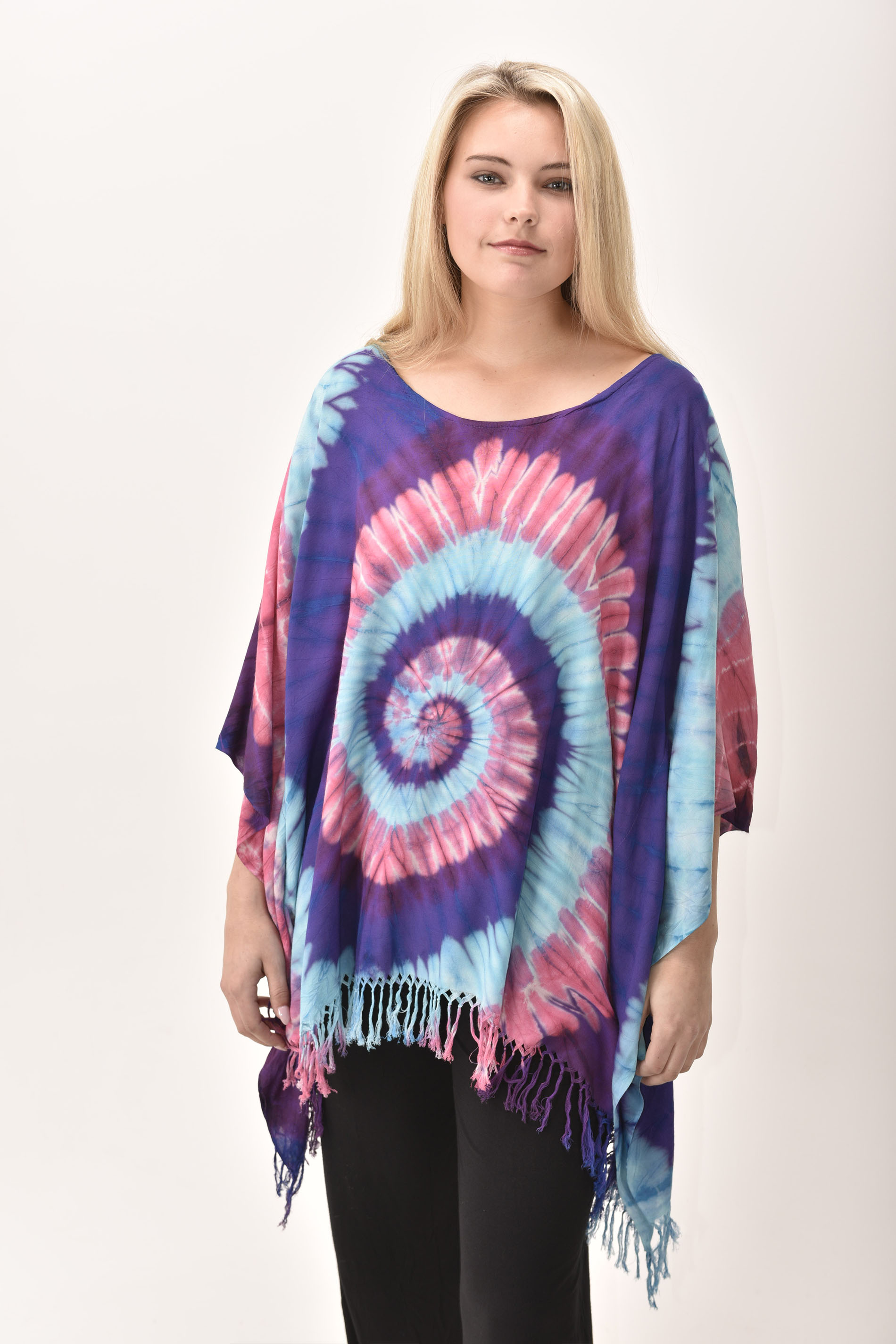 Fringed Poncho Tunic Hand Painted Tie Dye, Blue Red