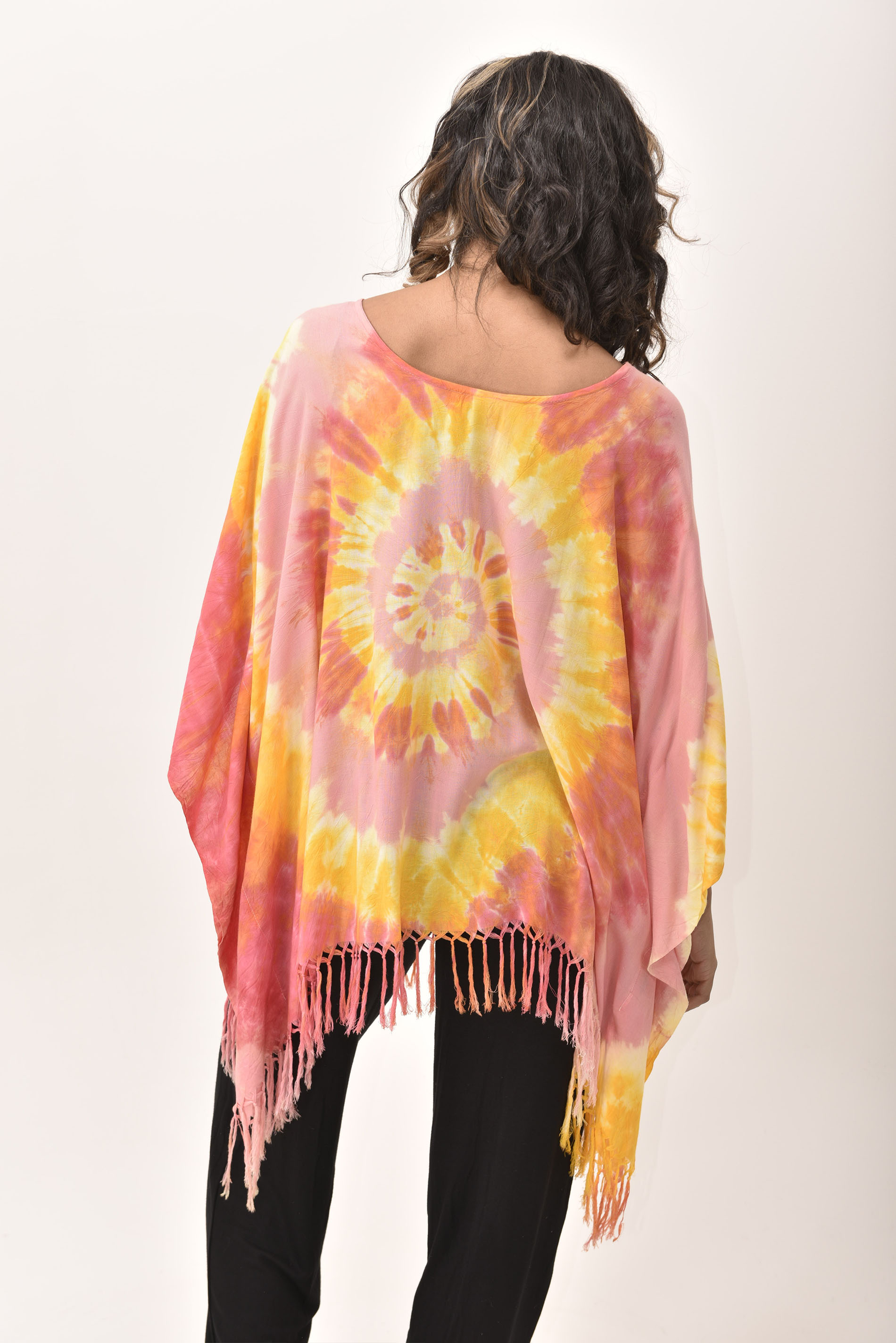 Fringed Poncho Tunic Hand Painted Tie Dye, Orange Yellow