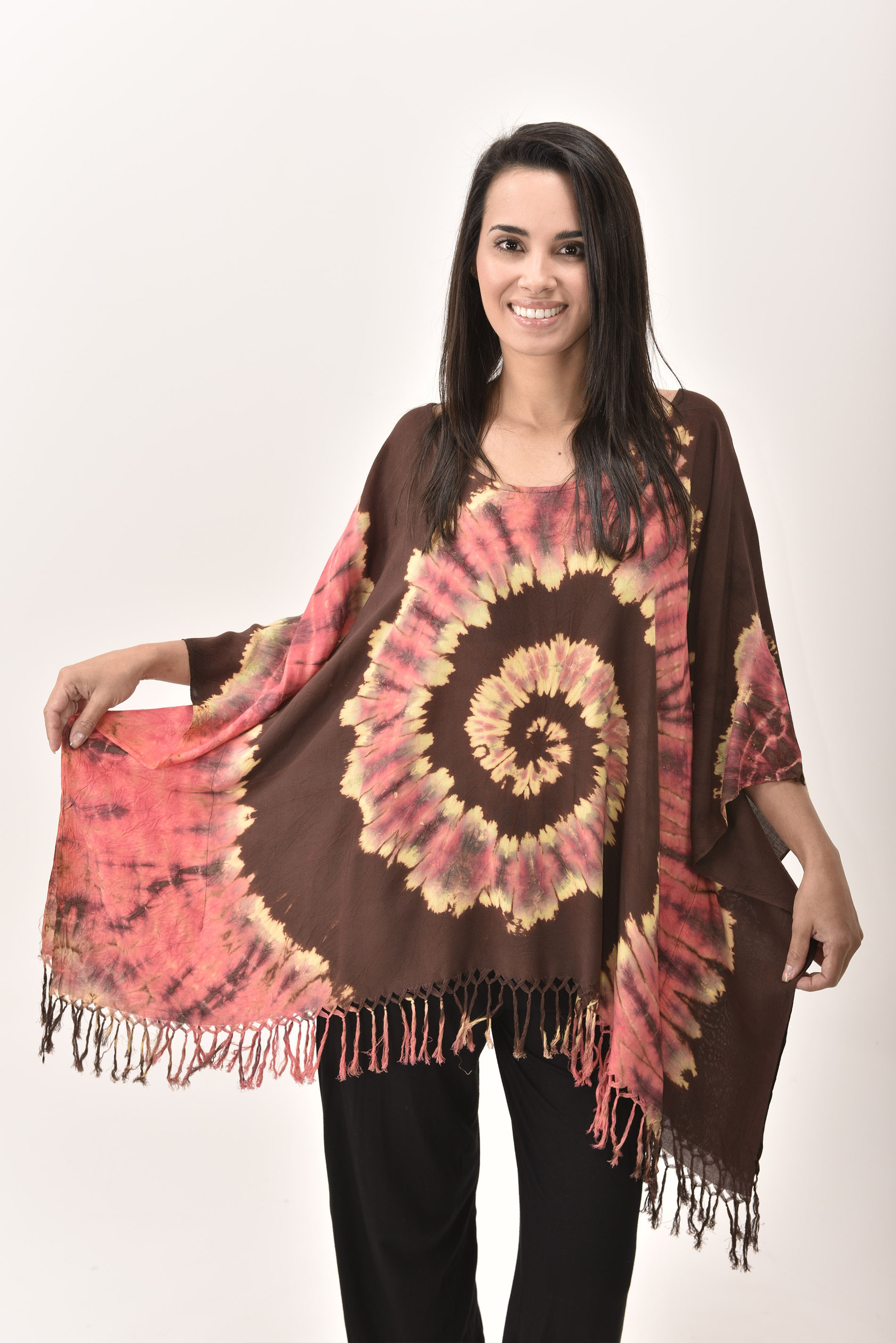 Fringed Poncho Tunic Hand Painted Tie Dye, Orange Brown