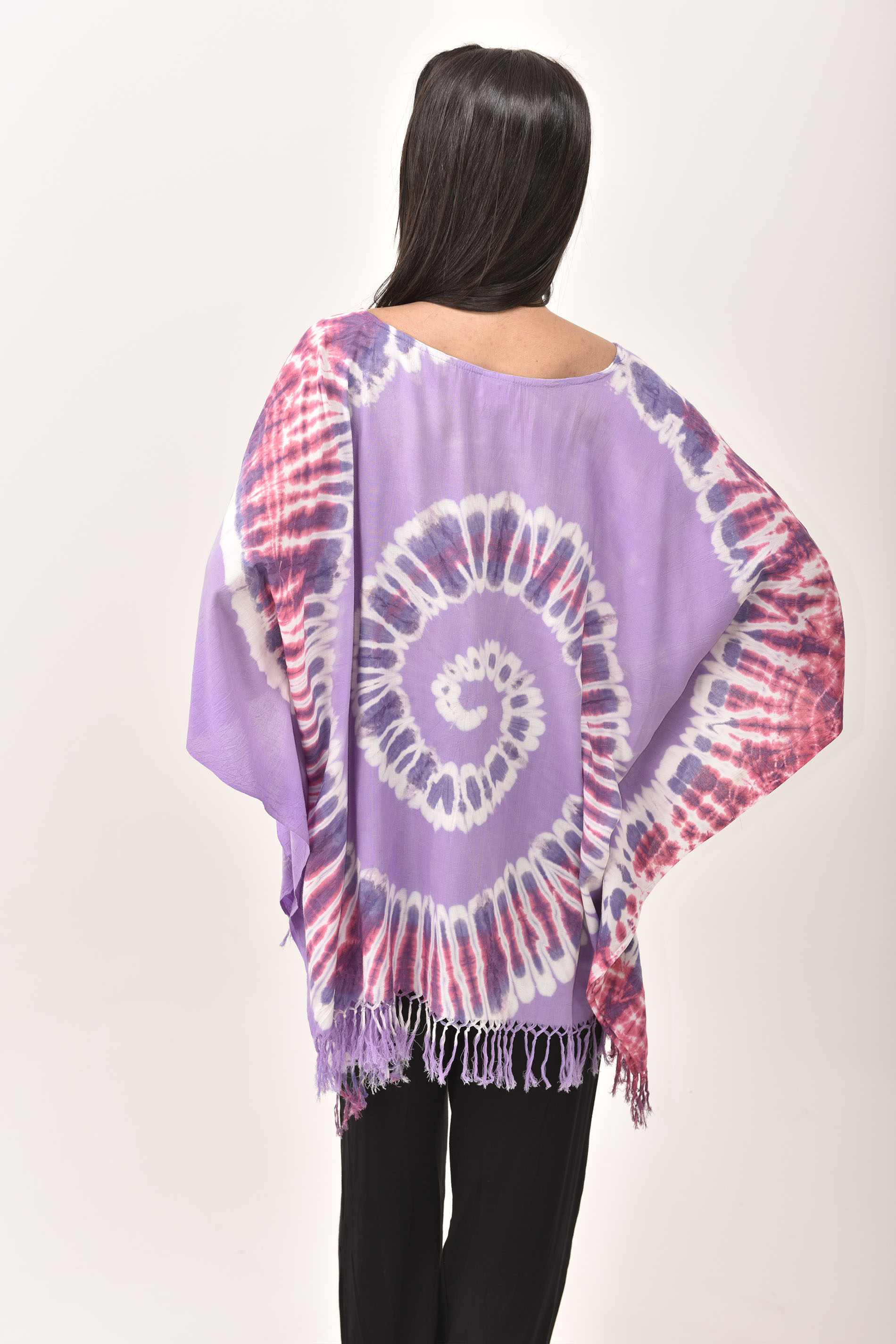 Fringed Poncho Tunic Hand Painted Tie Dye, Lavender